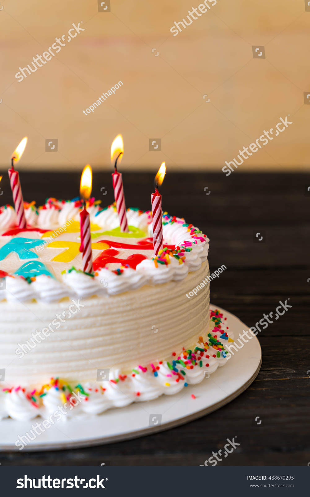 Happy Birthday Cake On Table Stock Photo Edit Now 488679295