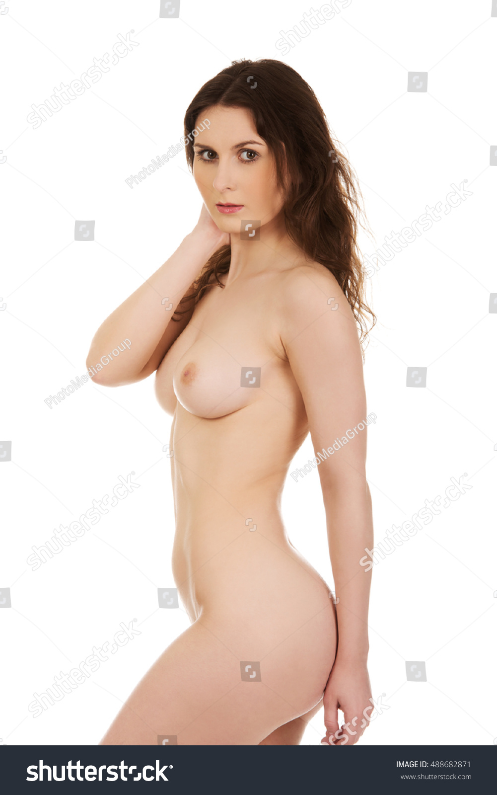 beautiful woman naked breast stock photo (royalty free) 488682871