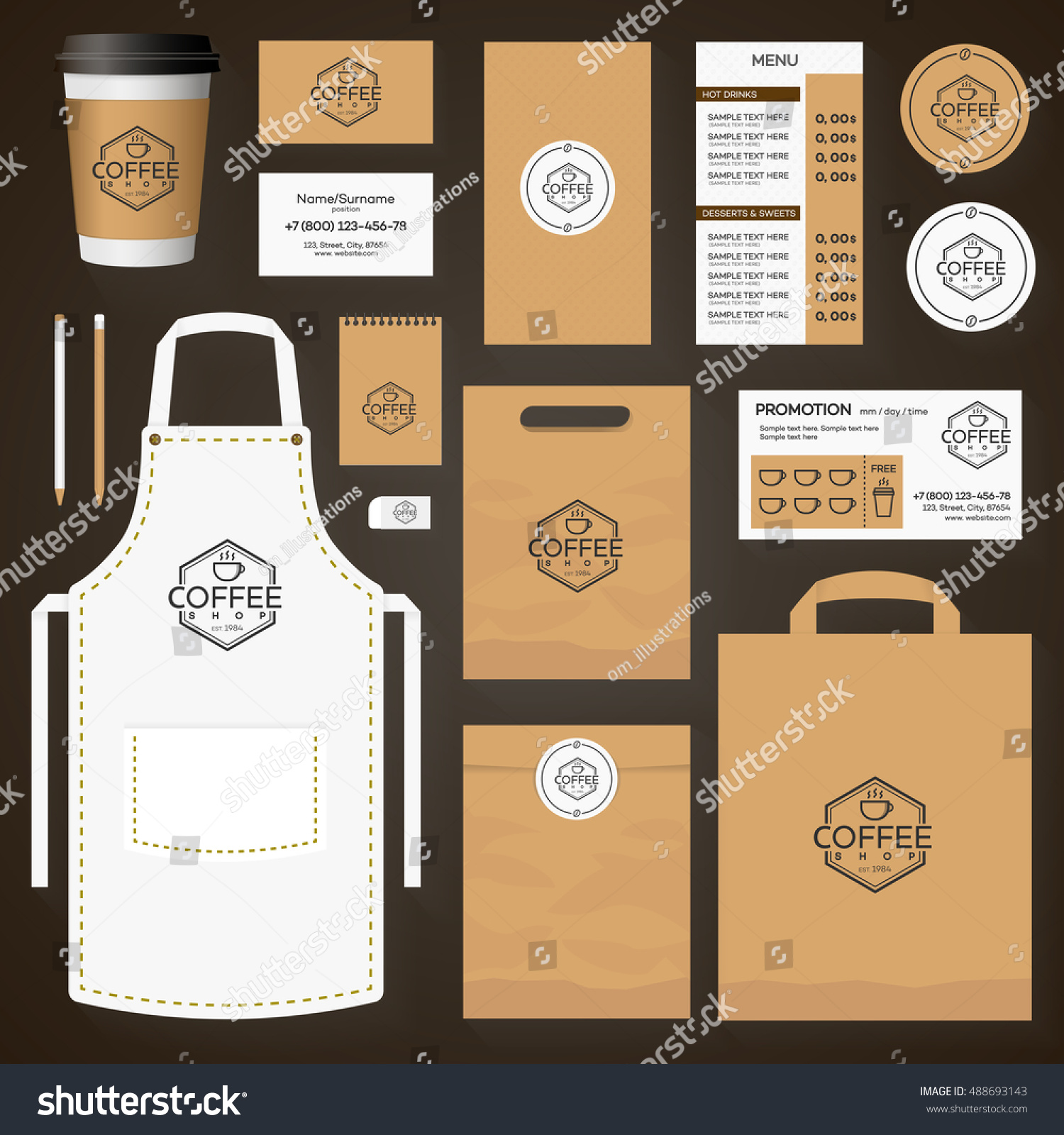 coffee house corporate identity template design stock vector