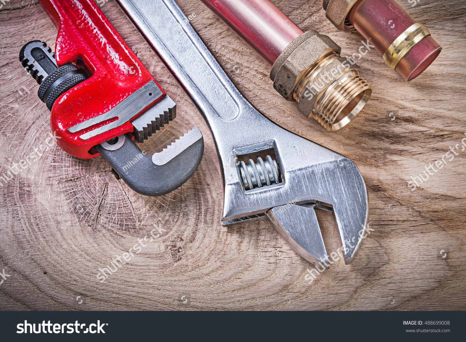 Copper Water Pipe Wrench Nipple Hose Stock Photo 488699008 ...