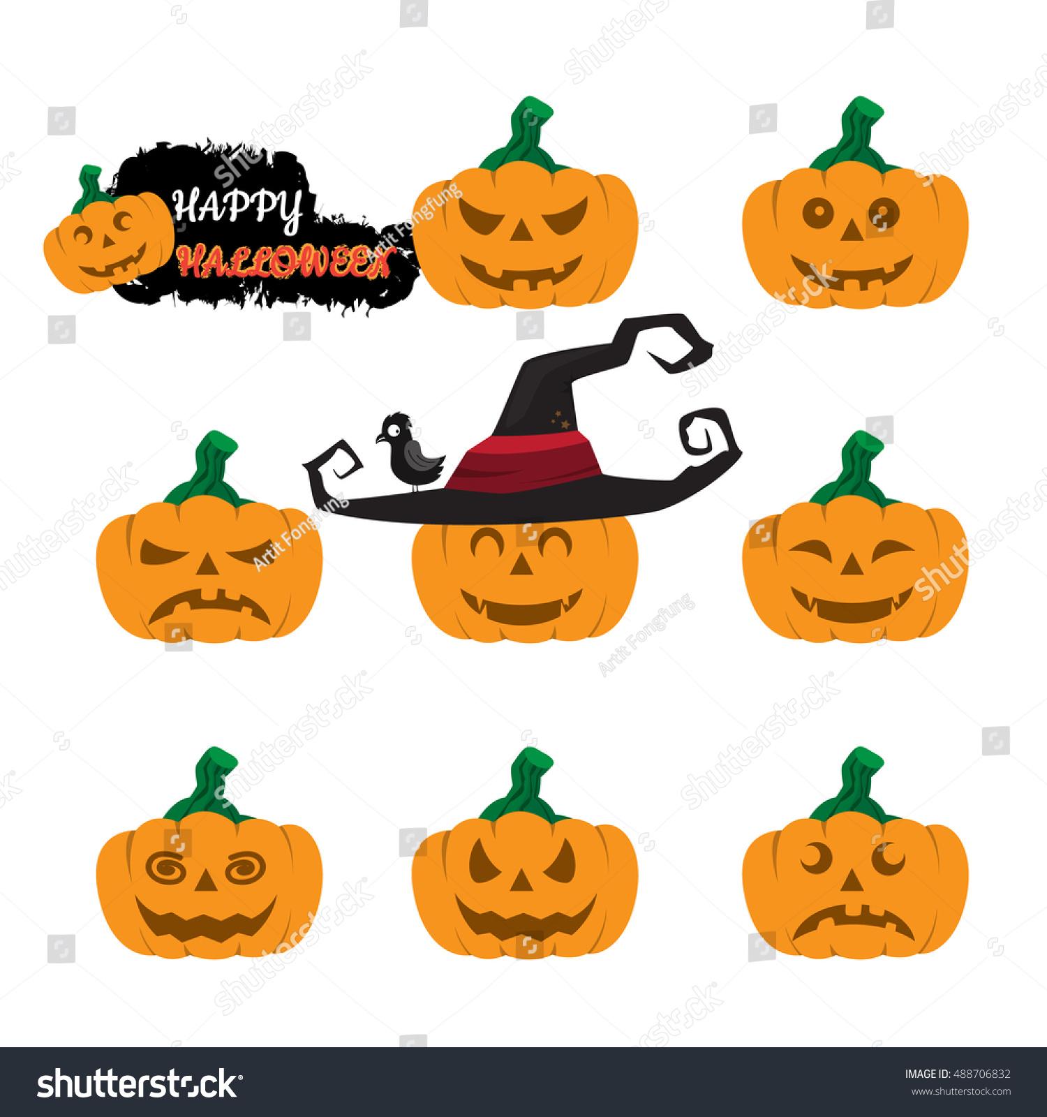 cute halloween pumpkin vector set vector