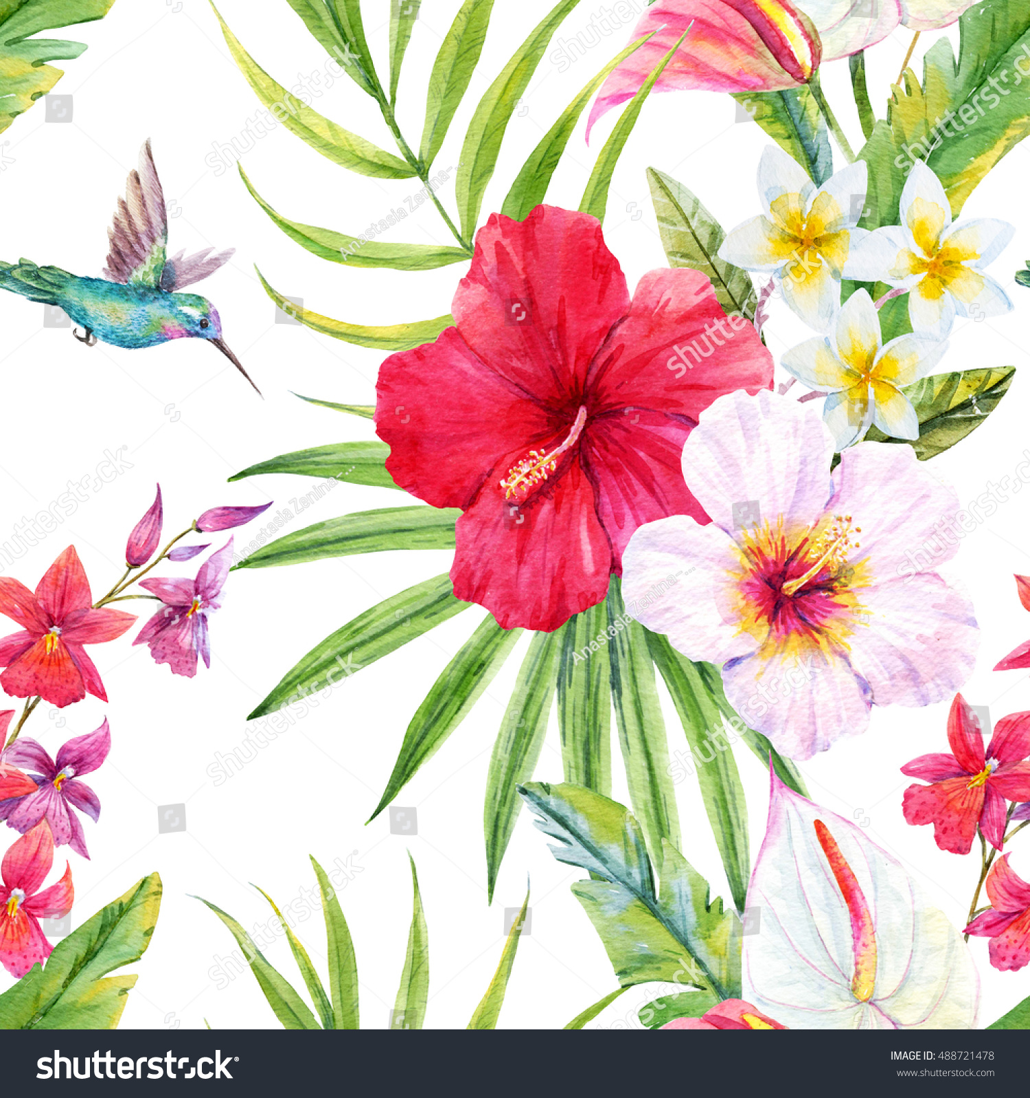 Watercolor Tropical Pattern Summer Bright Background Stock ...