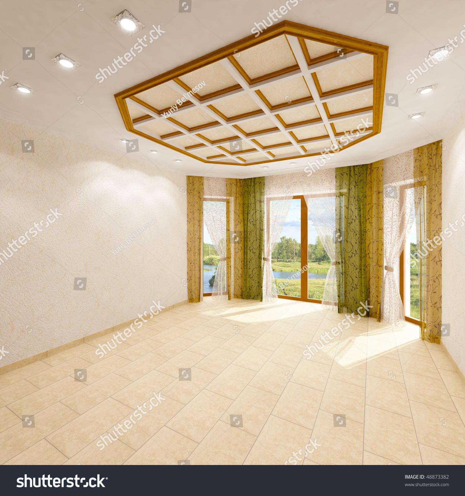 Empty Living Room: 3d Render Interior, Empty Living Room. Stock Photo