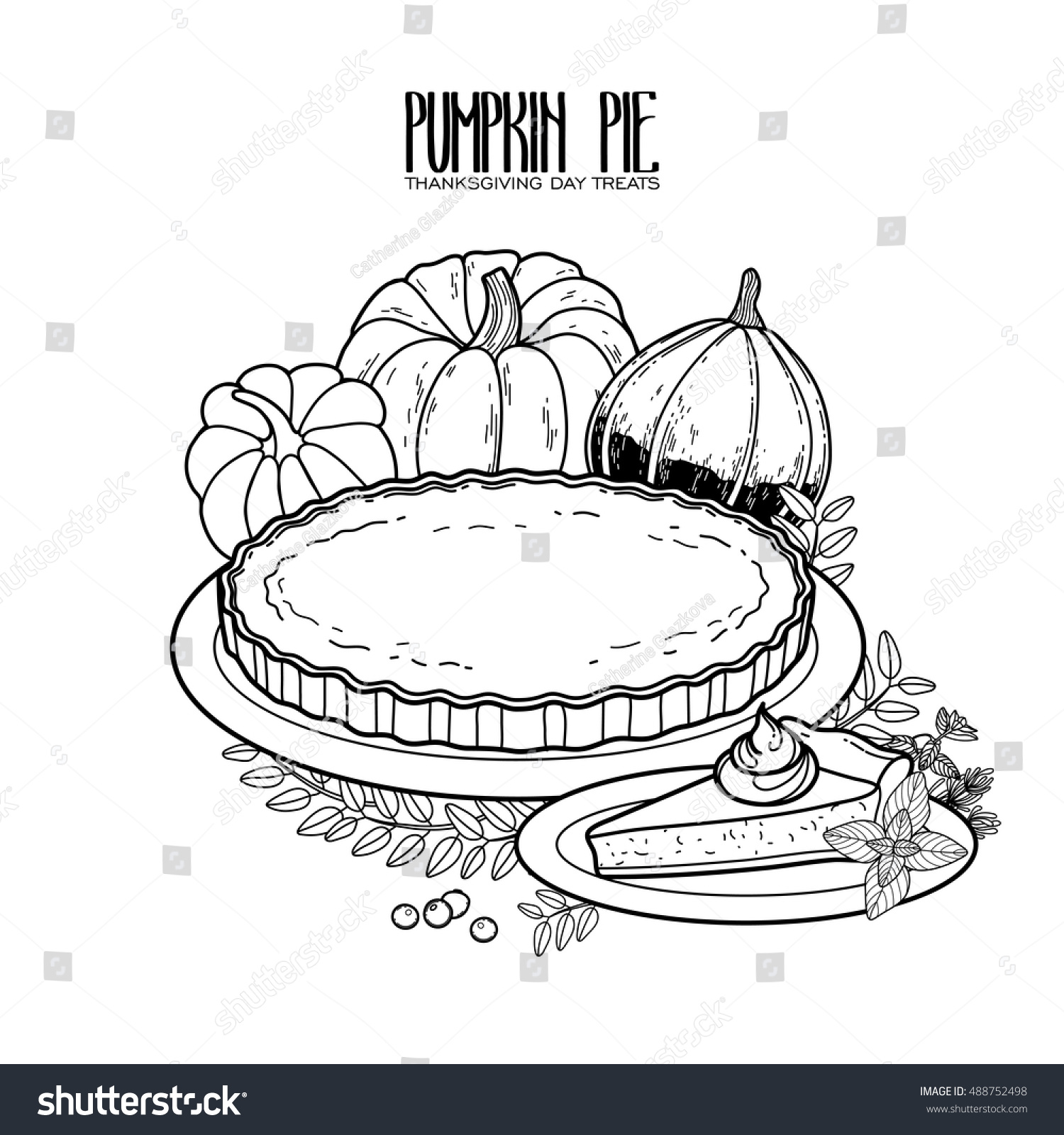Graphic Pumpkin Pie Drawn In Line Art Style Thanksgiving Day Design Isolated On White Background
