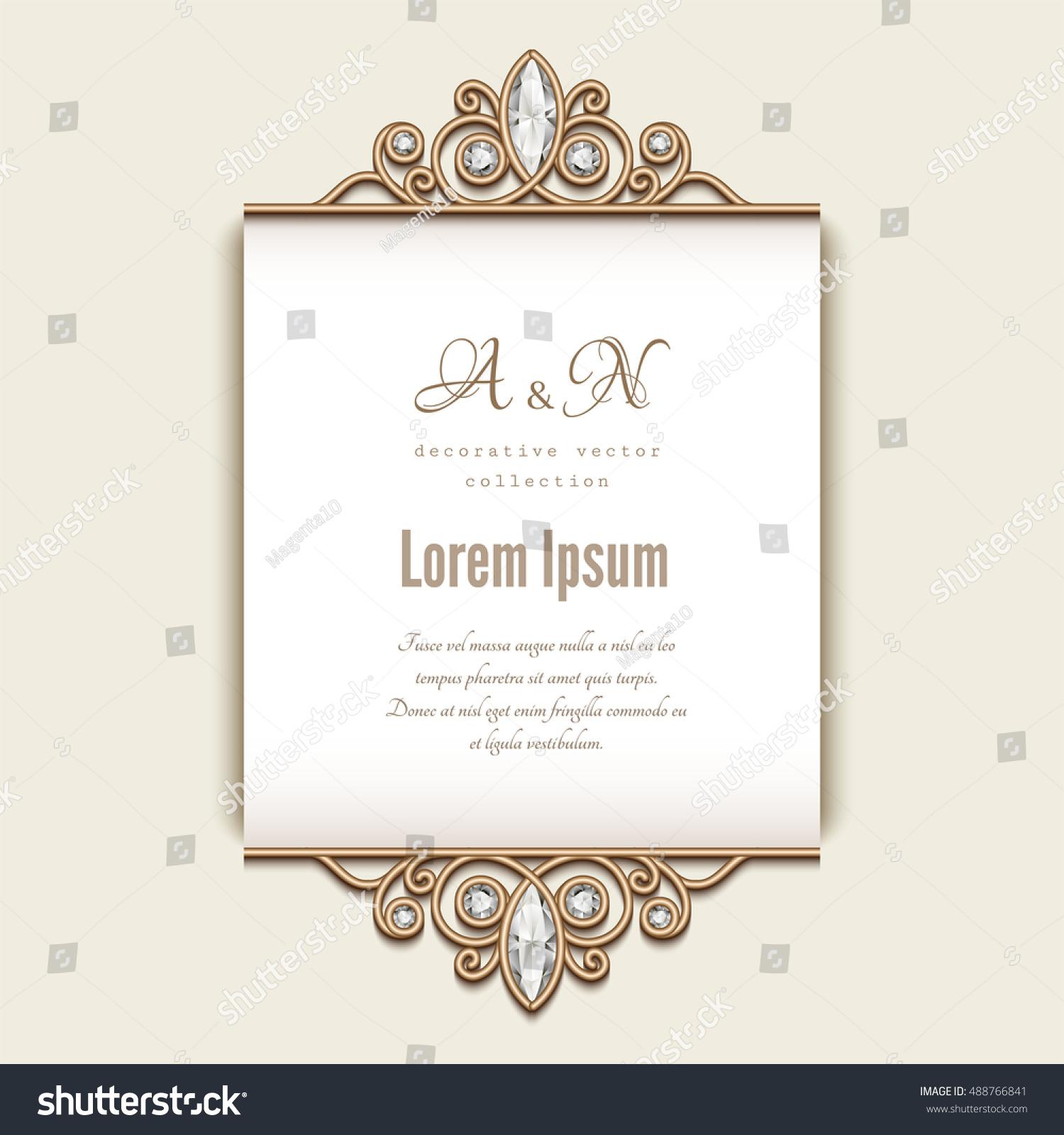 Vintage Card Diamond Jewelry Decoration Elegant Vector – Wedding Announcement Template