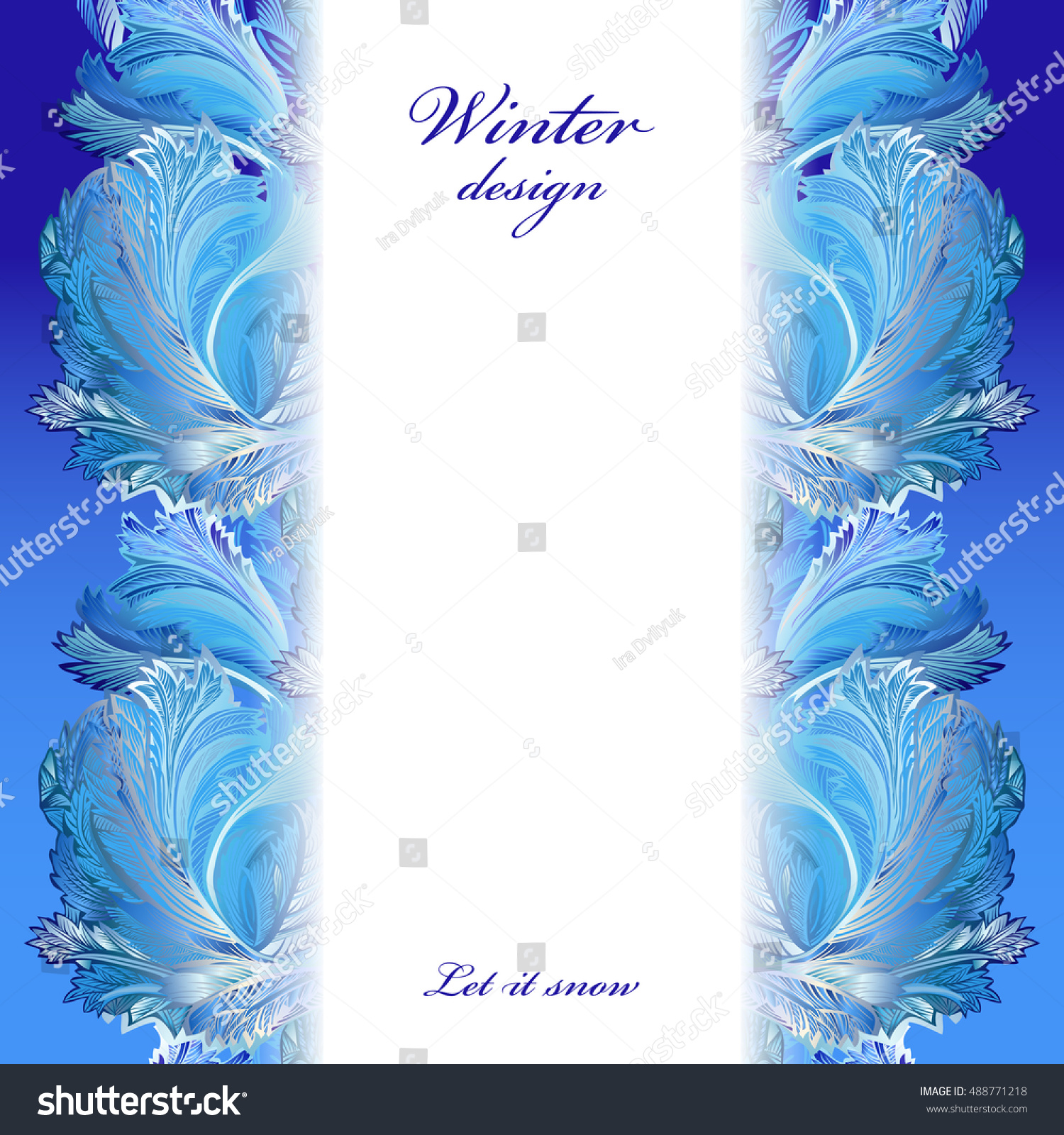 Winter Holiday Blue Frost Background Vertical Greetings Banner With Snow Hoar Ice