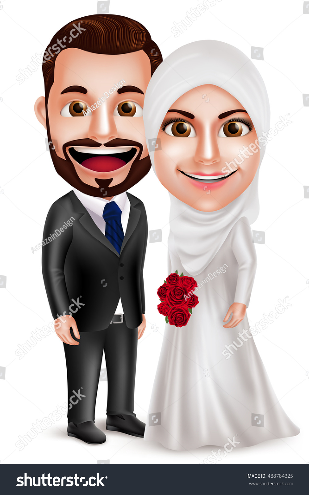 Muslim couple vector characters as bride and groom wearing white wedding dress holding bouquet standing side by side isolated in white background Vector illustration