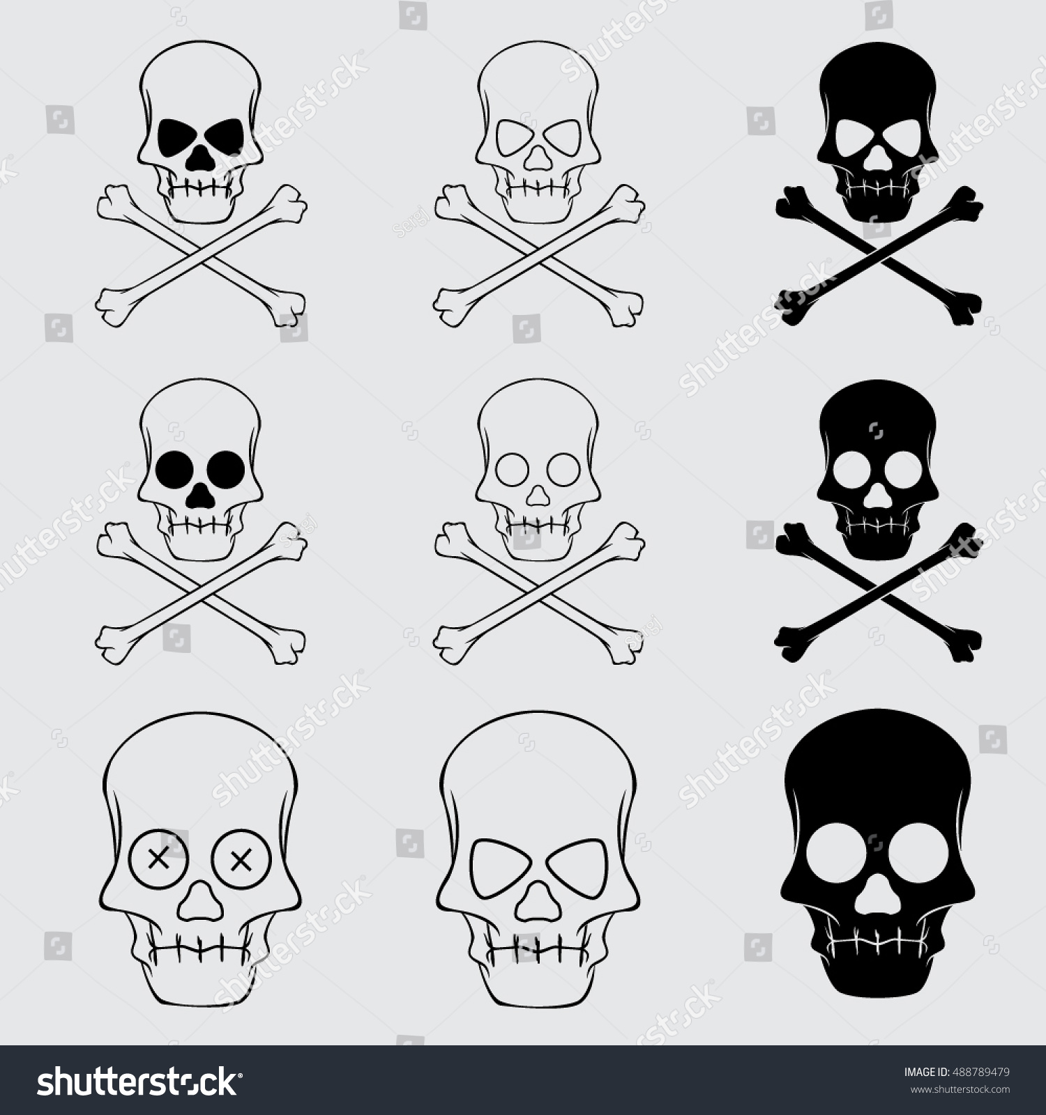 Cross Bones Skulls Set Symbol Of Danger And Death Ez Canvas