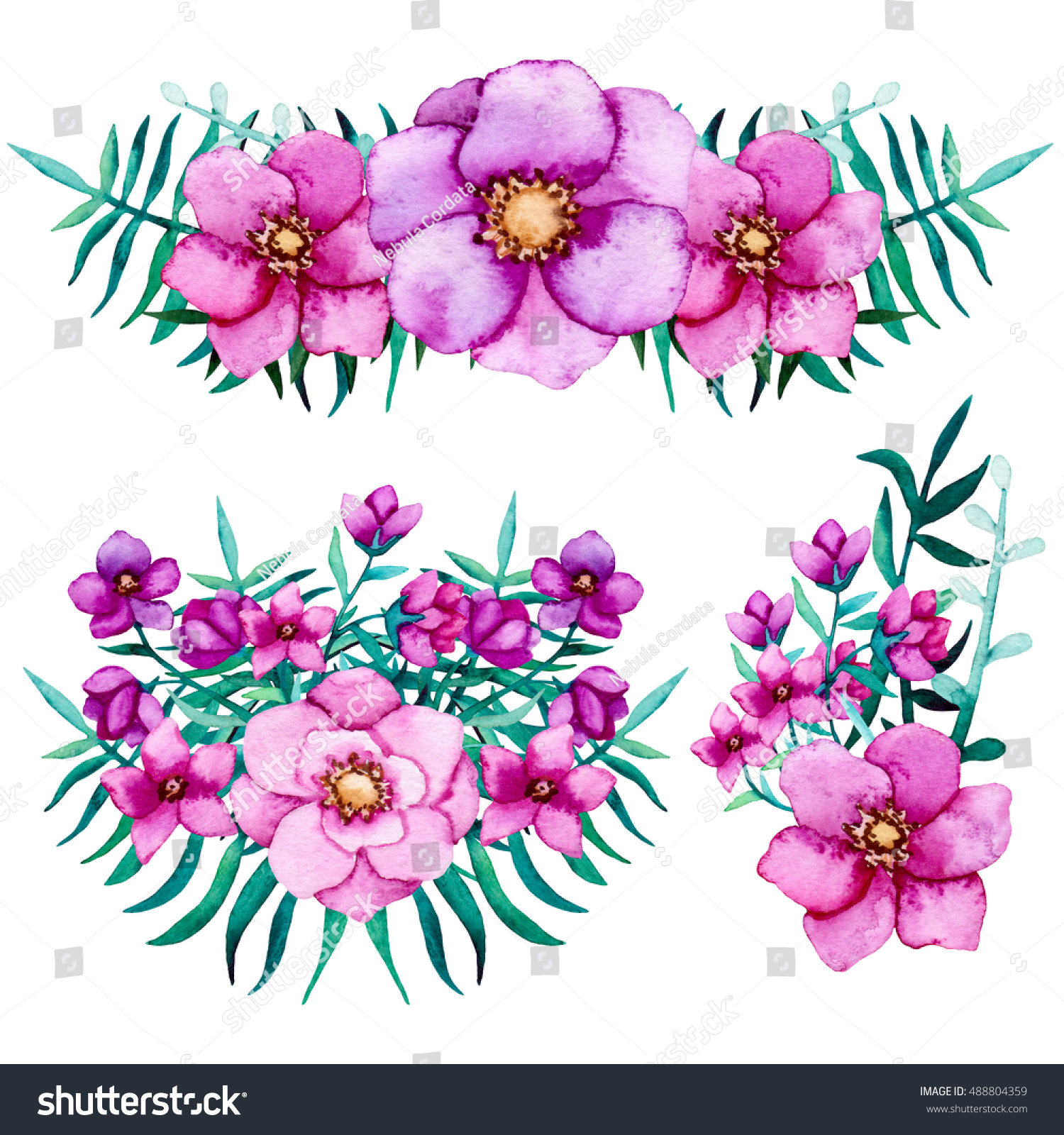 Set Watercolor Bouquets Pink Purple Flowers Stock Illustration