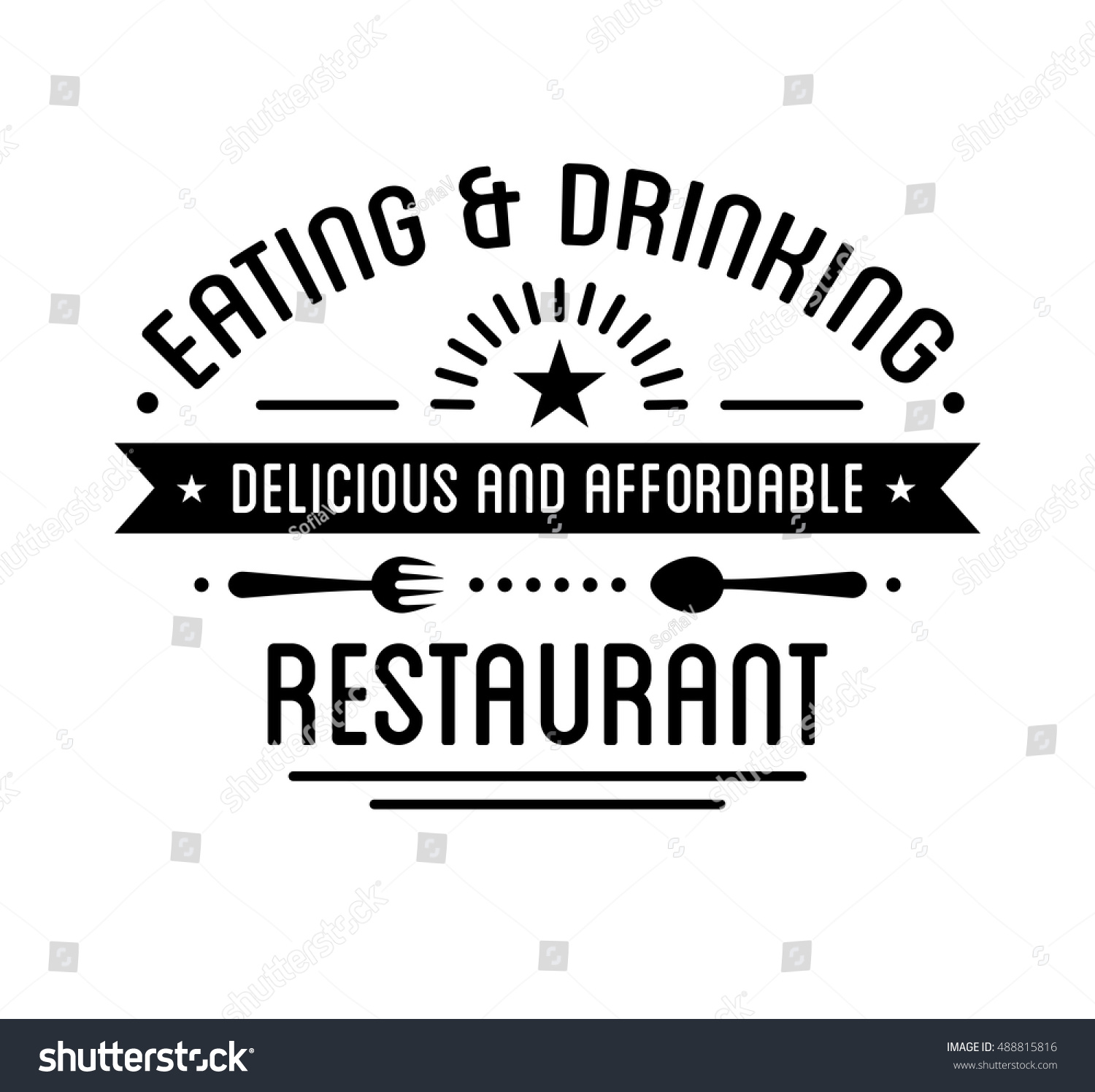 Vintage Logo Restaurant Label Template Graphic Stock Vector (Royalty ...