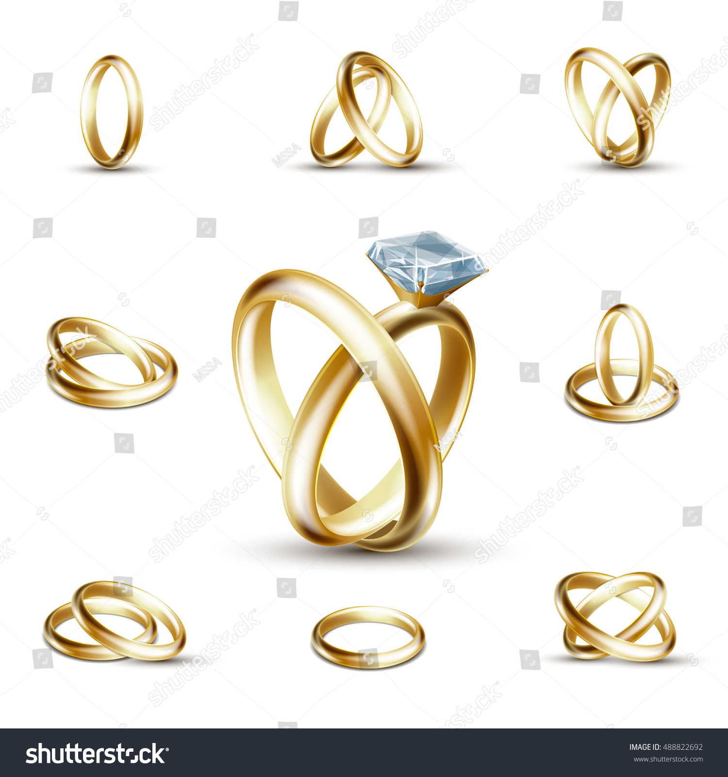 Wedding Rings Wedding Diamond Ring Vector Stock Vector 488822692 ...
