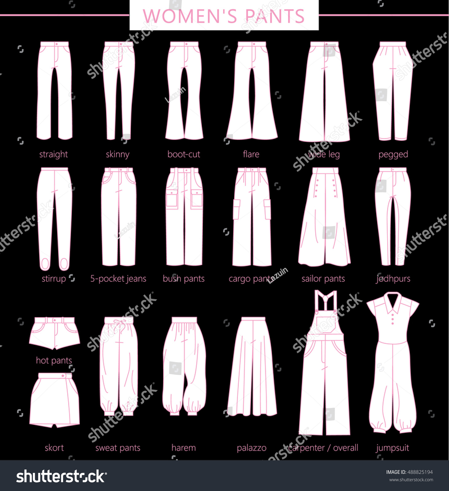 Set Silhouettes Different Types Womens Pantstrousers Stock Vector ...