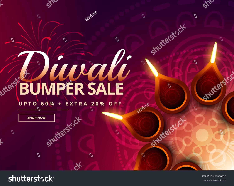 Diwali Sale Diya Decoration Stock Vector 488830327