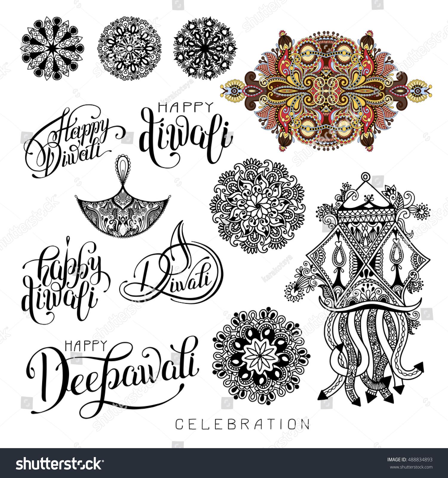Set Black White Hand Drawing Design Stock Vector (2018) 488834893 ... for diwali festival black and white images  111ane