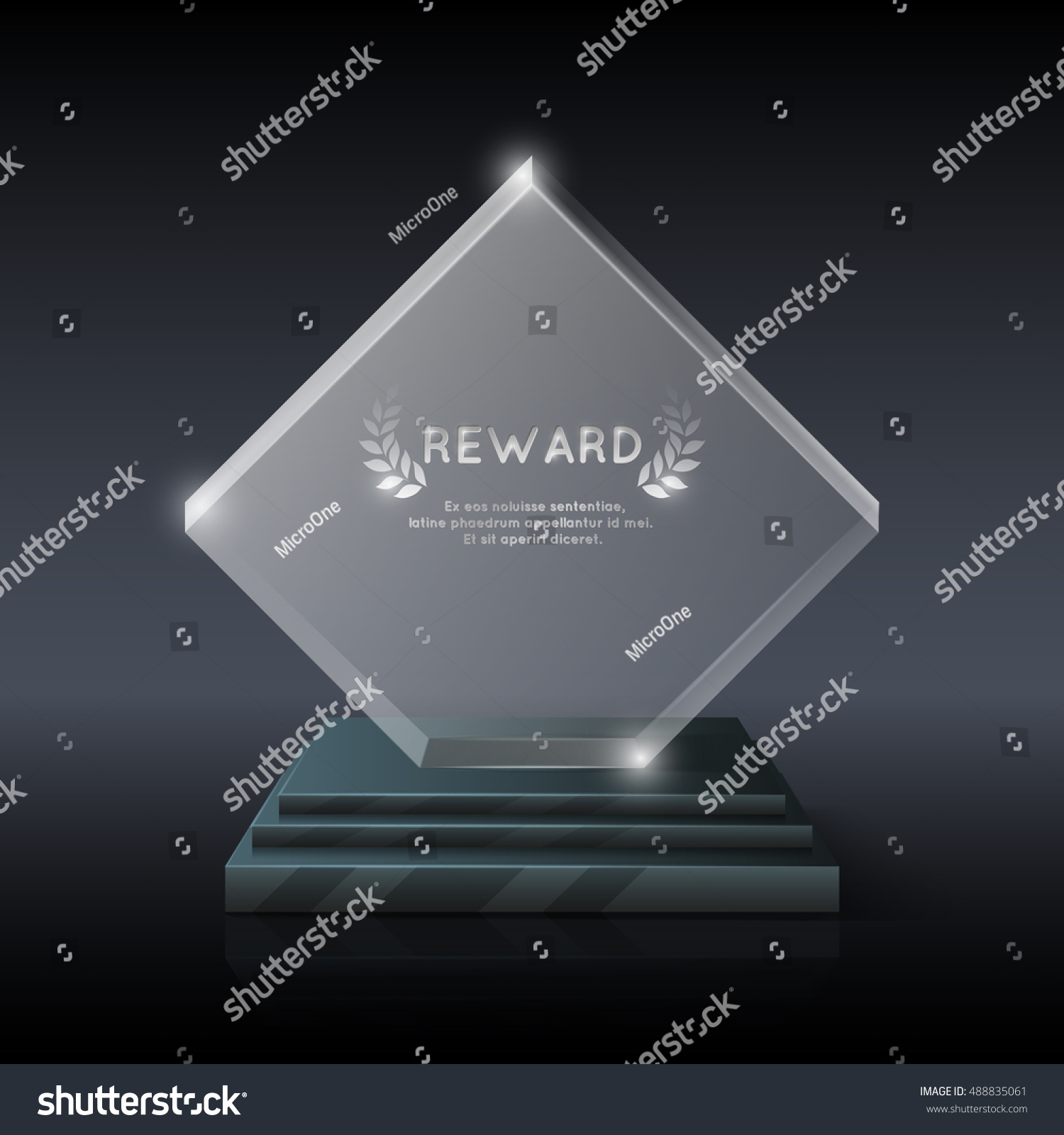 Vector realistic crystal glass trophy award for winner and champion illustration