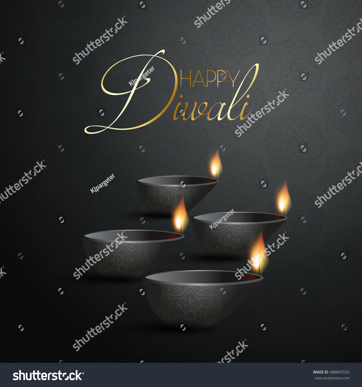 Decorative Diwali background with burning Diya lamps