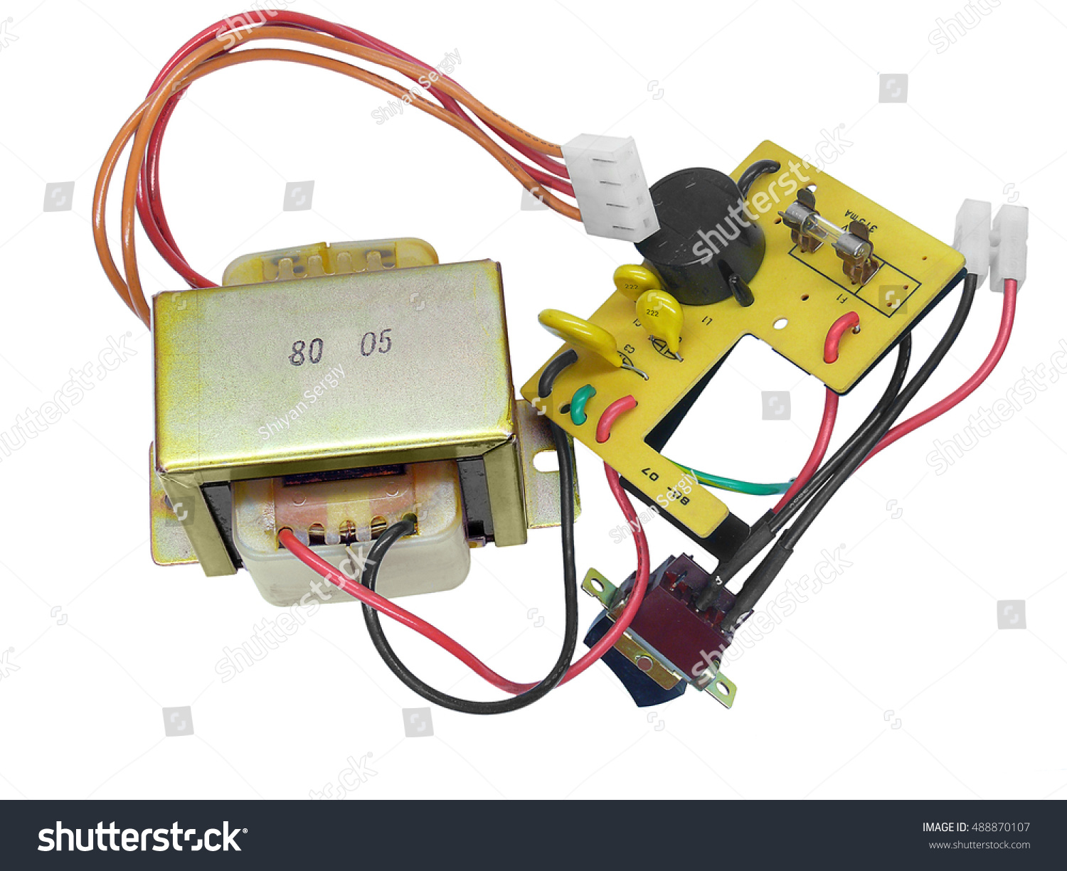 Power Transformer Mains Switch Electronics Plate Stock Photo Edit A And The On White Background