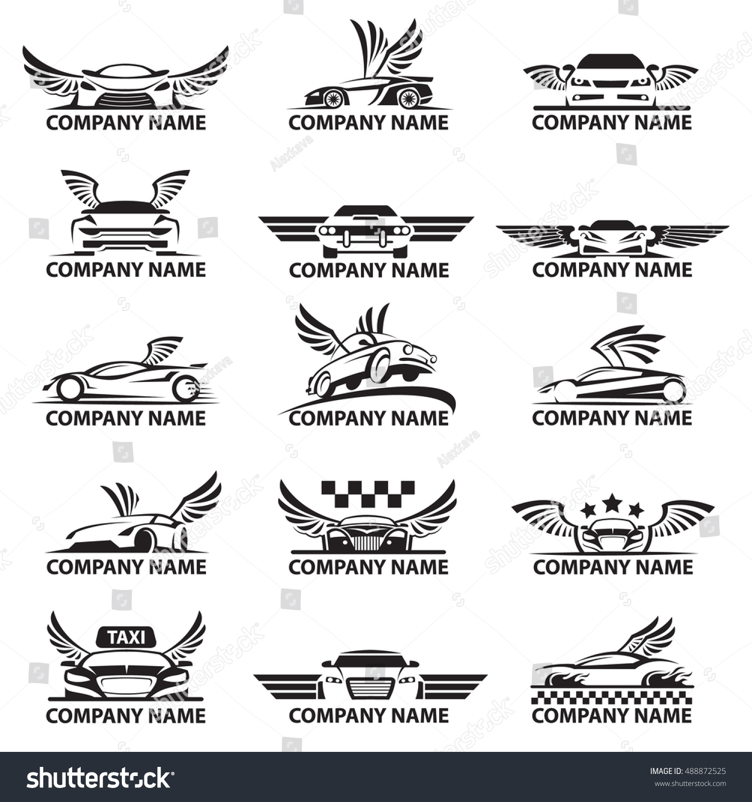 Collection Car Logos Wings Stock Vector Royalty Free 488872525