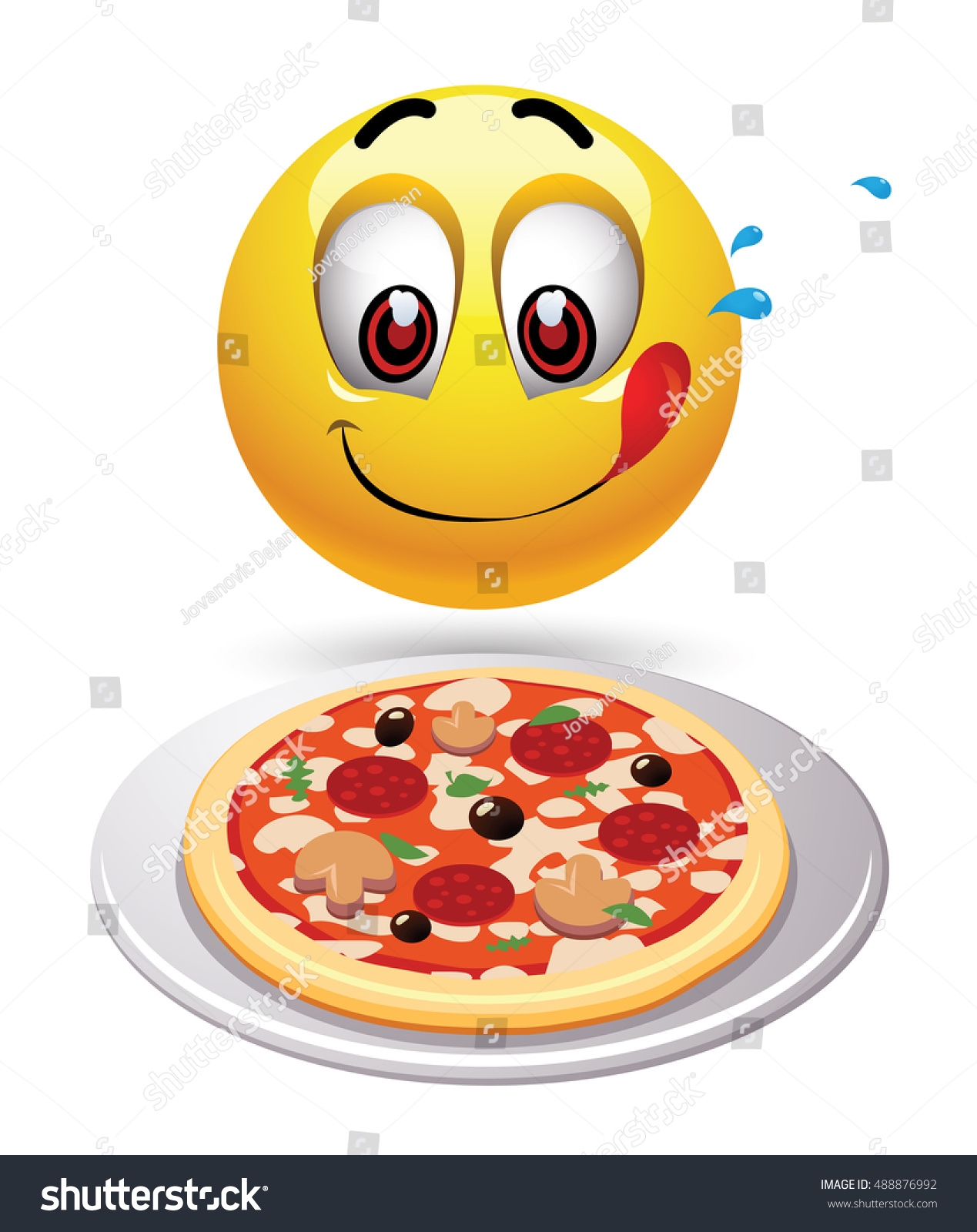 hungry smiley looking tasty pizza humoristic 488876992 shutterstock. Black Bedroom Furniture Sets. Home Design Ideas