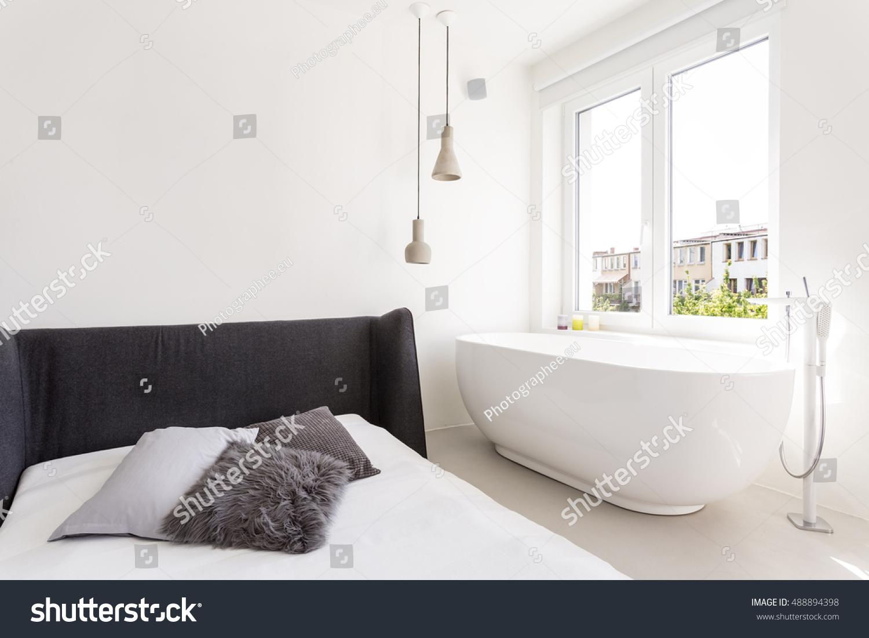 Shot Modern White Bedroom Bathtub Stock Photo (Edit Now) 488894398 ...