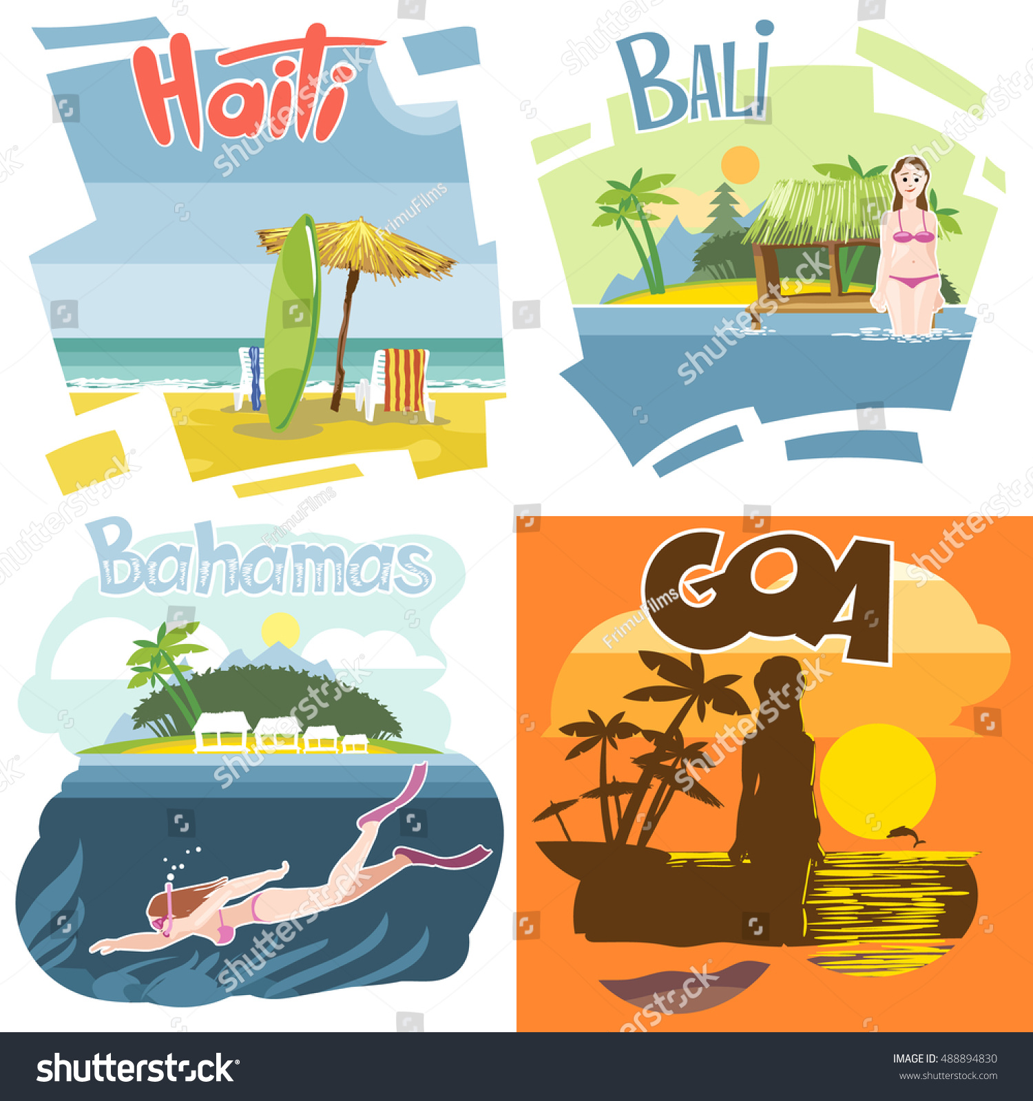 Digital Vector Touristic Vacation Destination Set Stock Vector Royalty Free 488894830