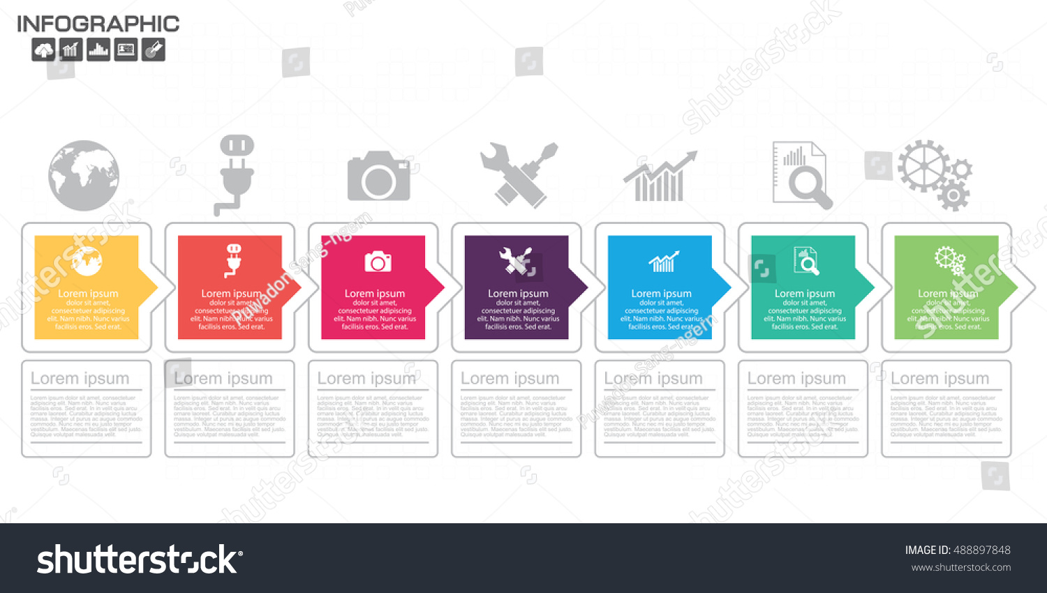 Timeline Infographic Chart Many Color Vector Stock Vector ...