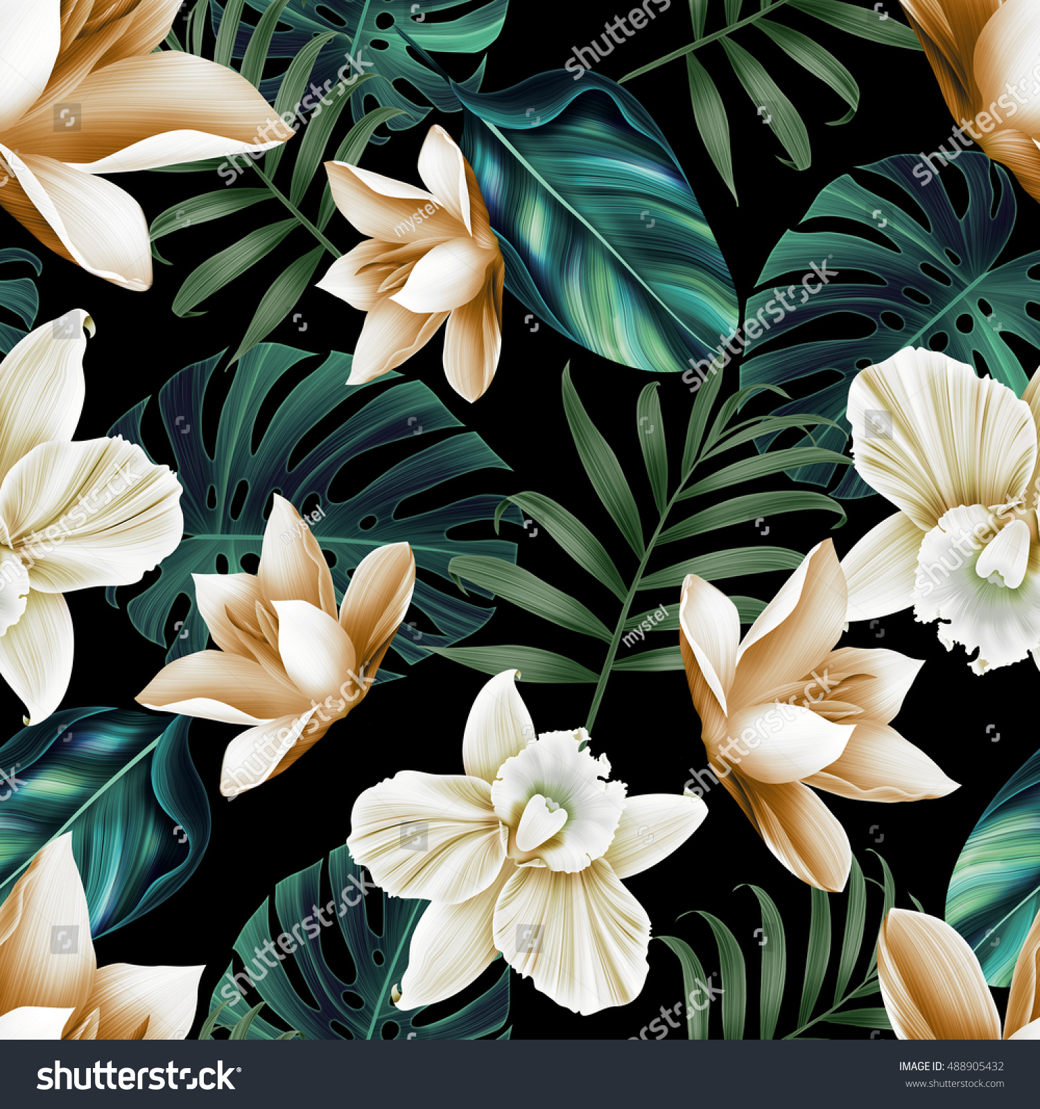 Seamless tropical flower plant pattern background hawaiian seamless tropical flower plant pattern background hawaiian californian florida summer style ez canvas izmirmasajfo