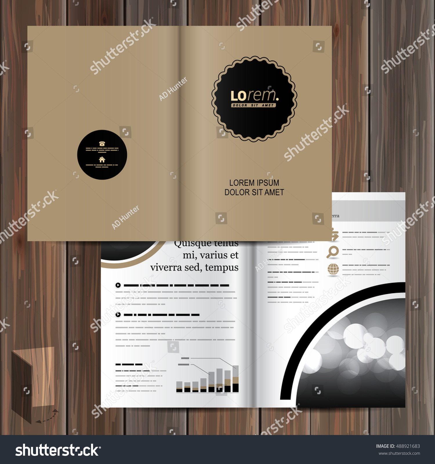 Classic Brown Brochure Template Design Black Stock Vector Royalty