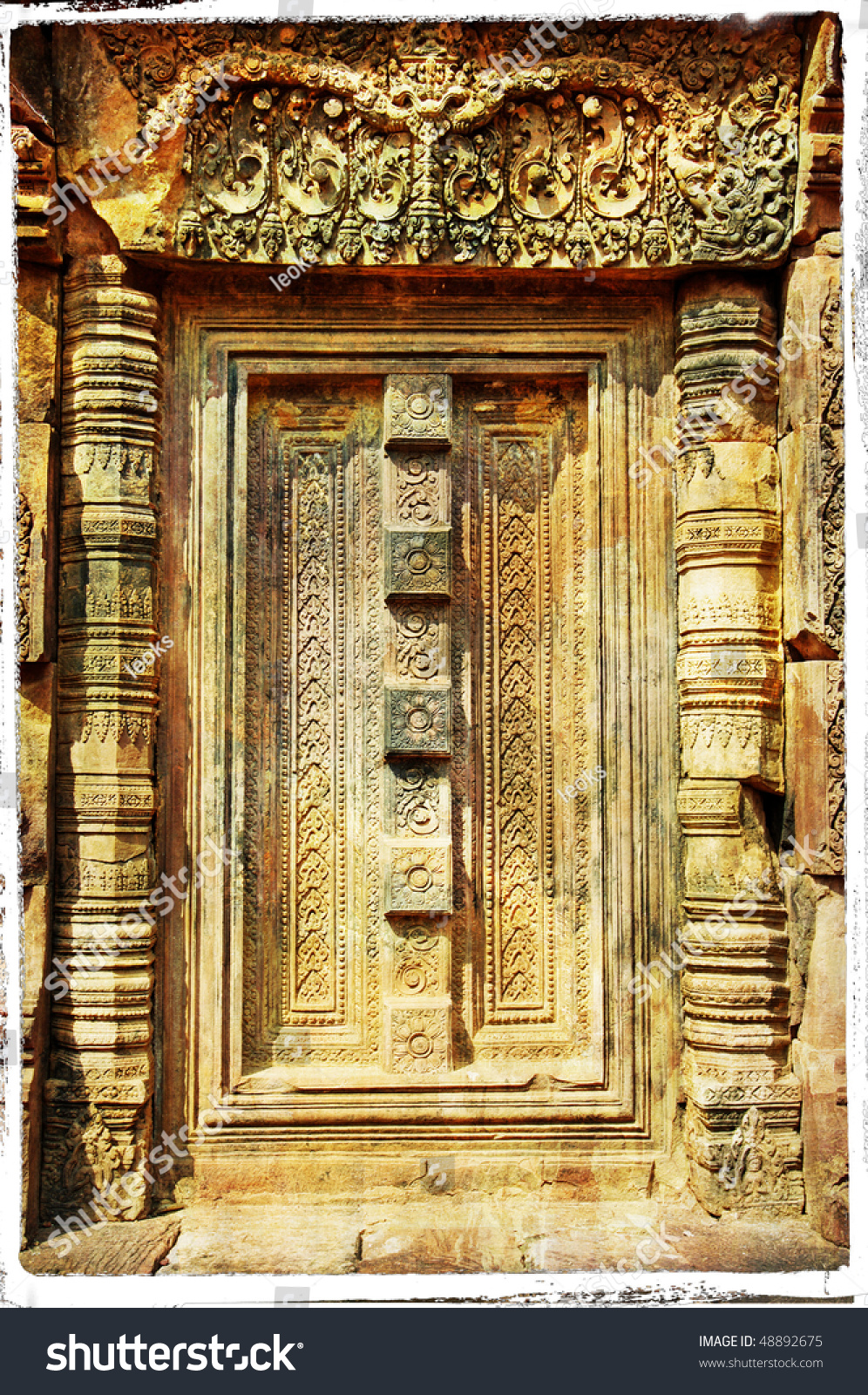 Stone Door Carving Ancient Cambodian Temple Stock Illustration ...
