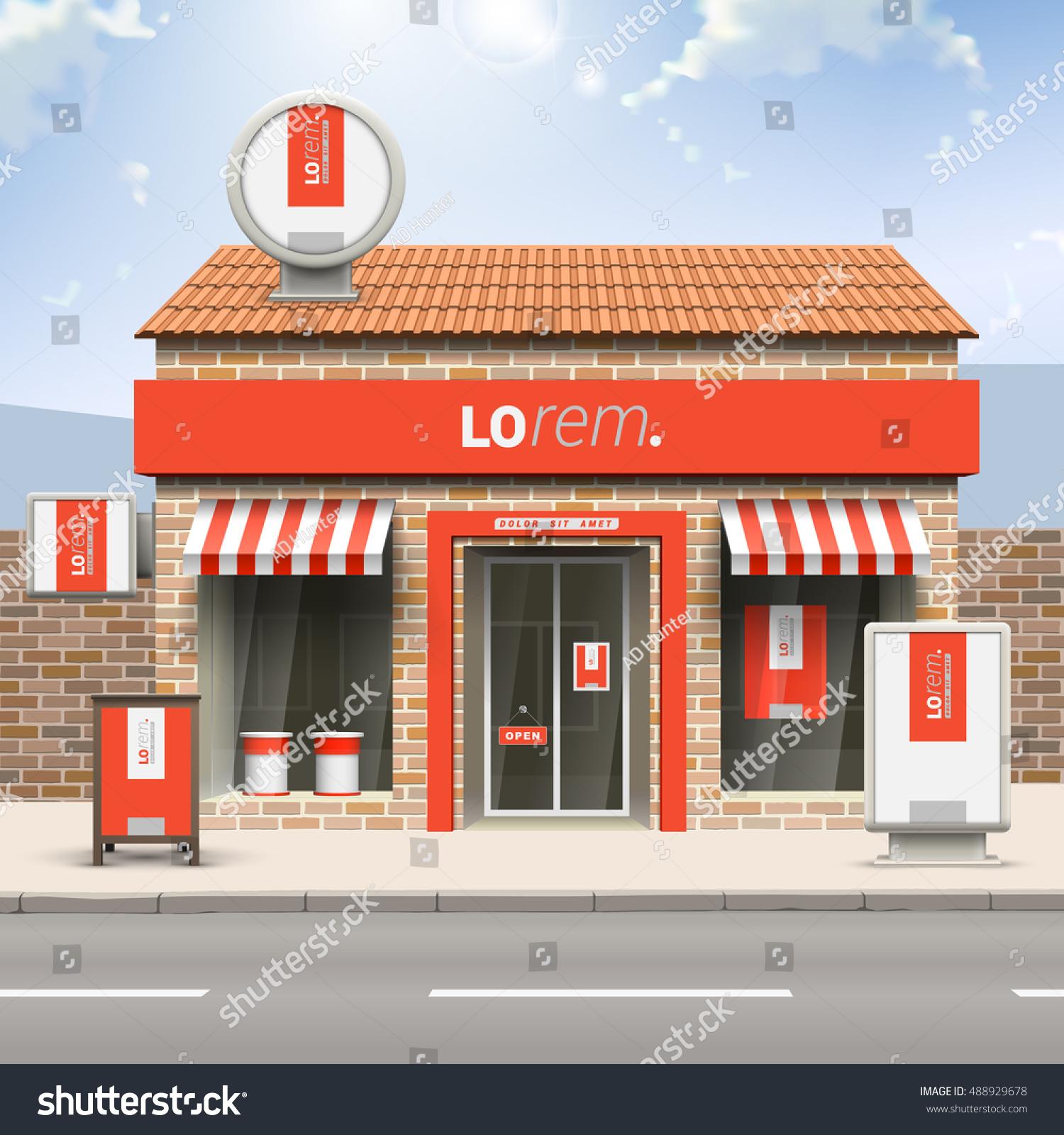 Red store design white vertical shape stock vector for Exterior shop design