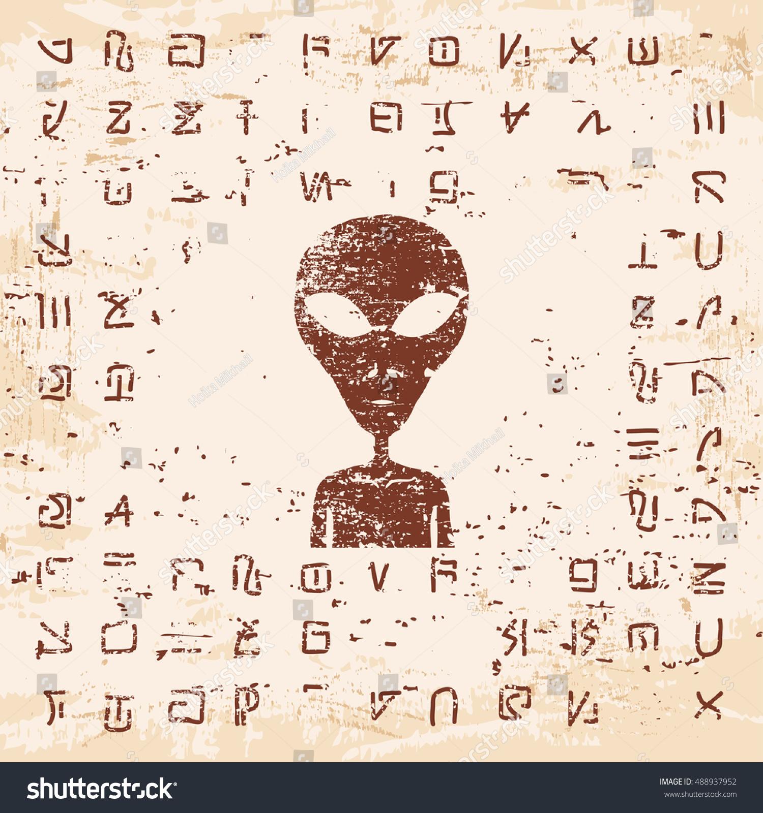 Vector Illustration Alien Writing Hieroglyphs Stranger Stock Vector