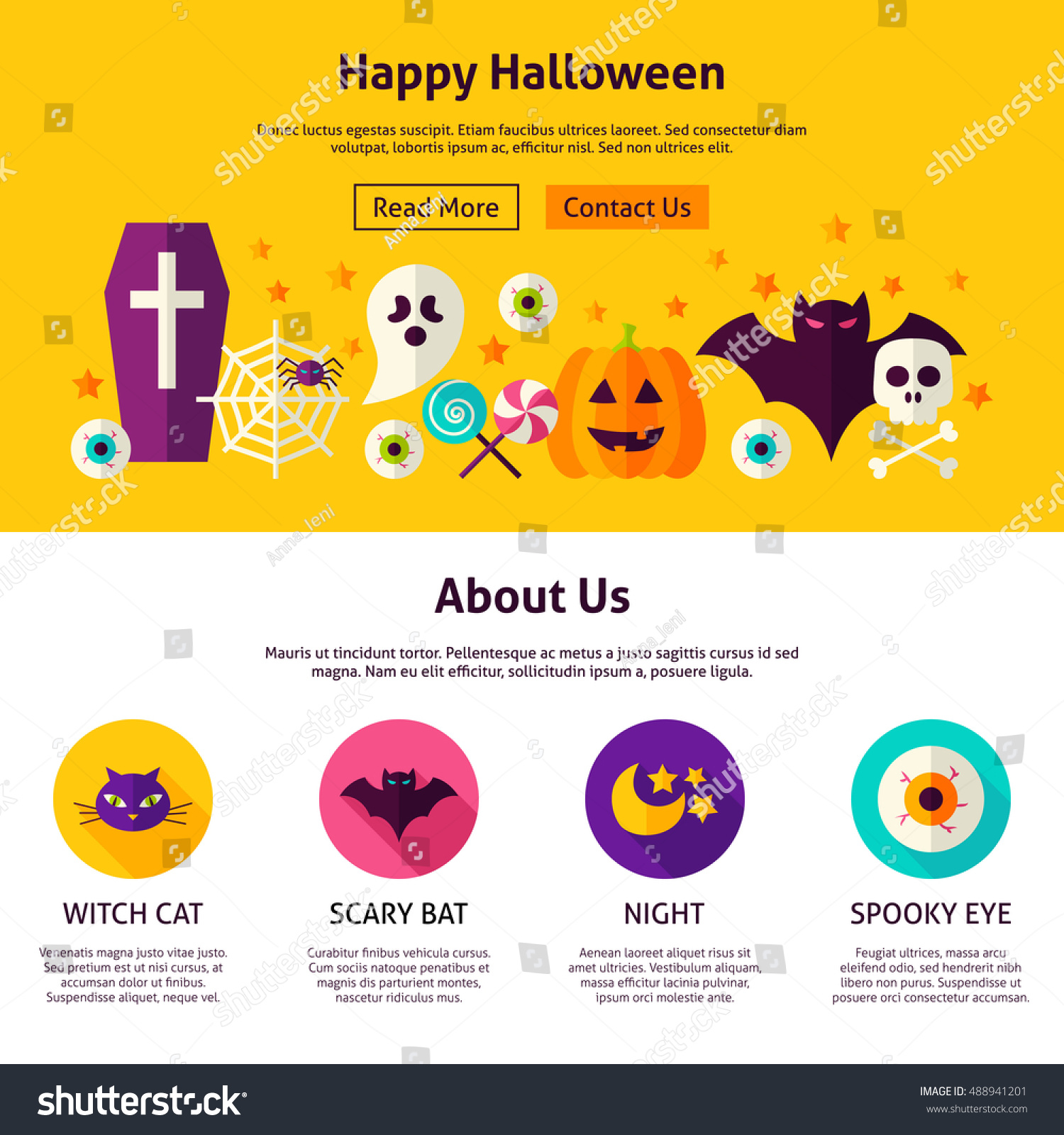 happy halloween web design template flat stock vector royalty free