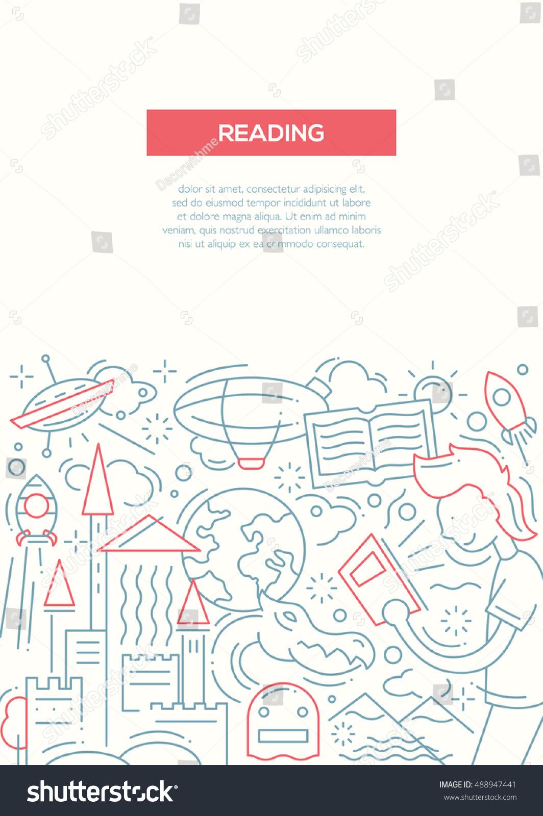 plain brochure template - reading plain line design brochure poster stock