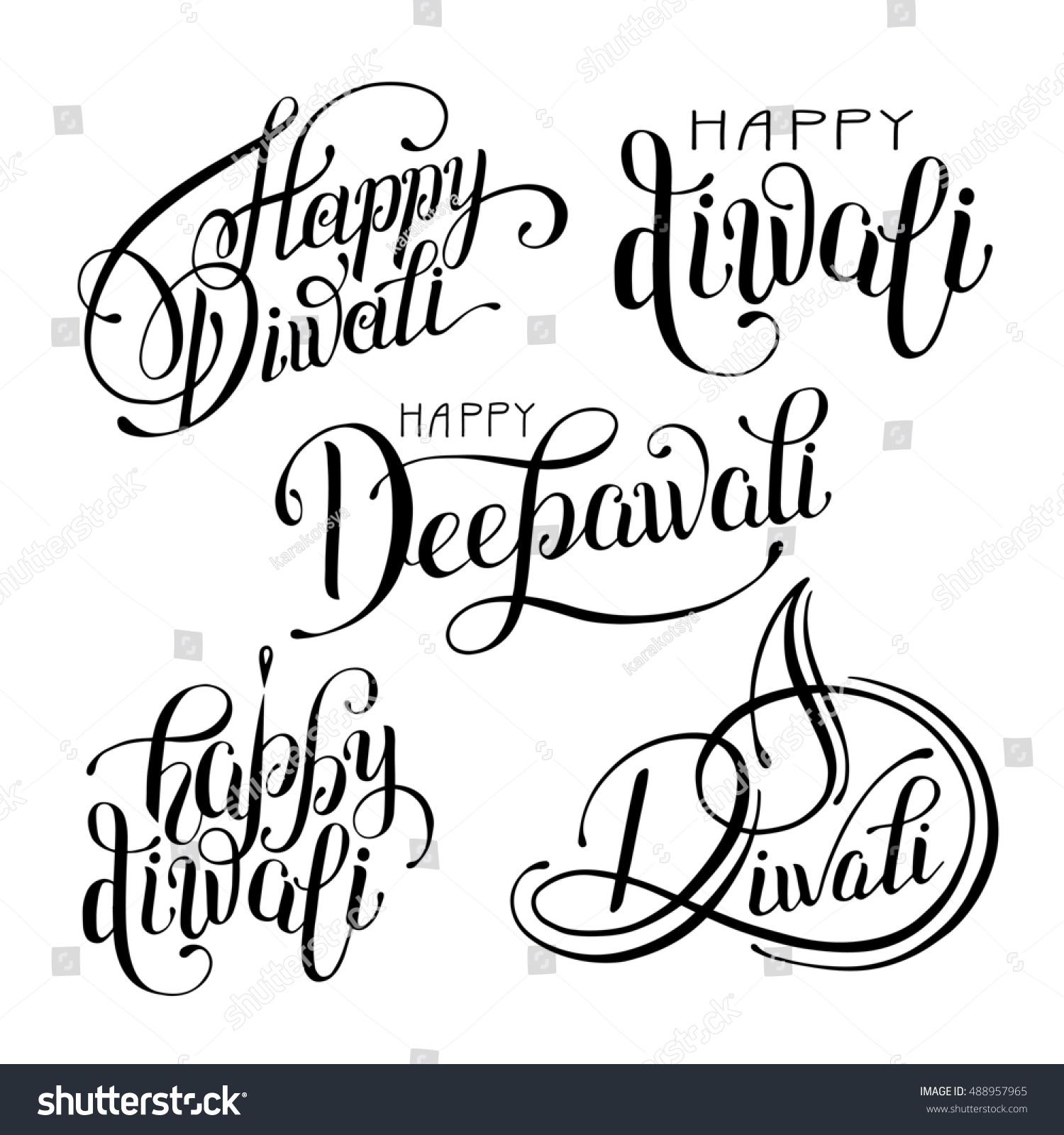 Set Black White Hand Drawing Design Stock Illustration 488957965 ... for diwali festival black and white images  61obs