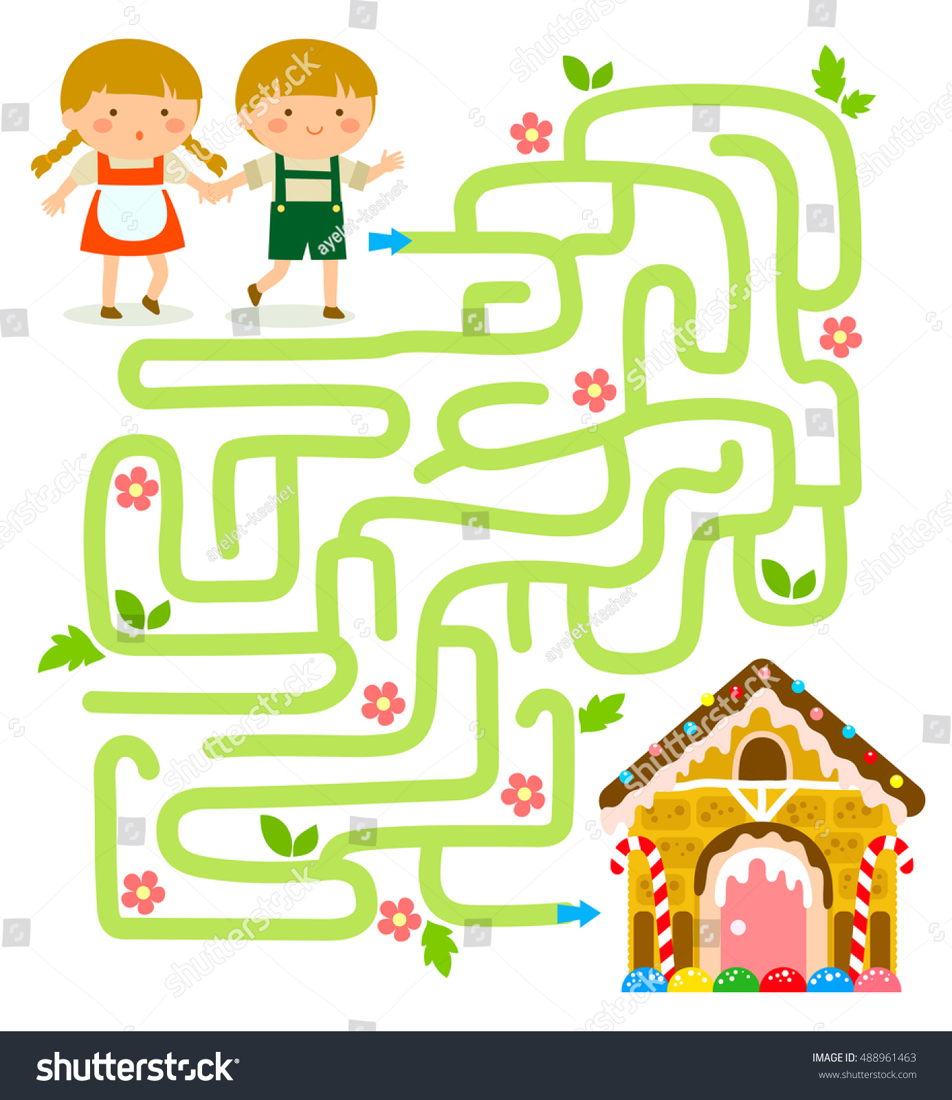Maze Game Hansel Gretel Find Gingerbread Vector de stock488961463 ...
