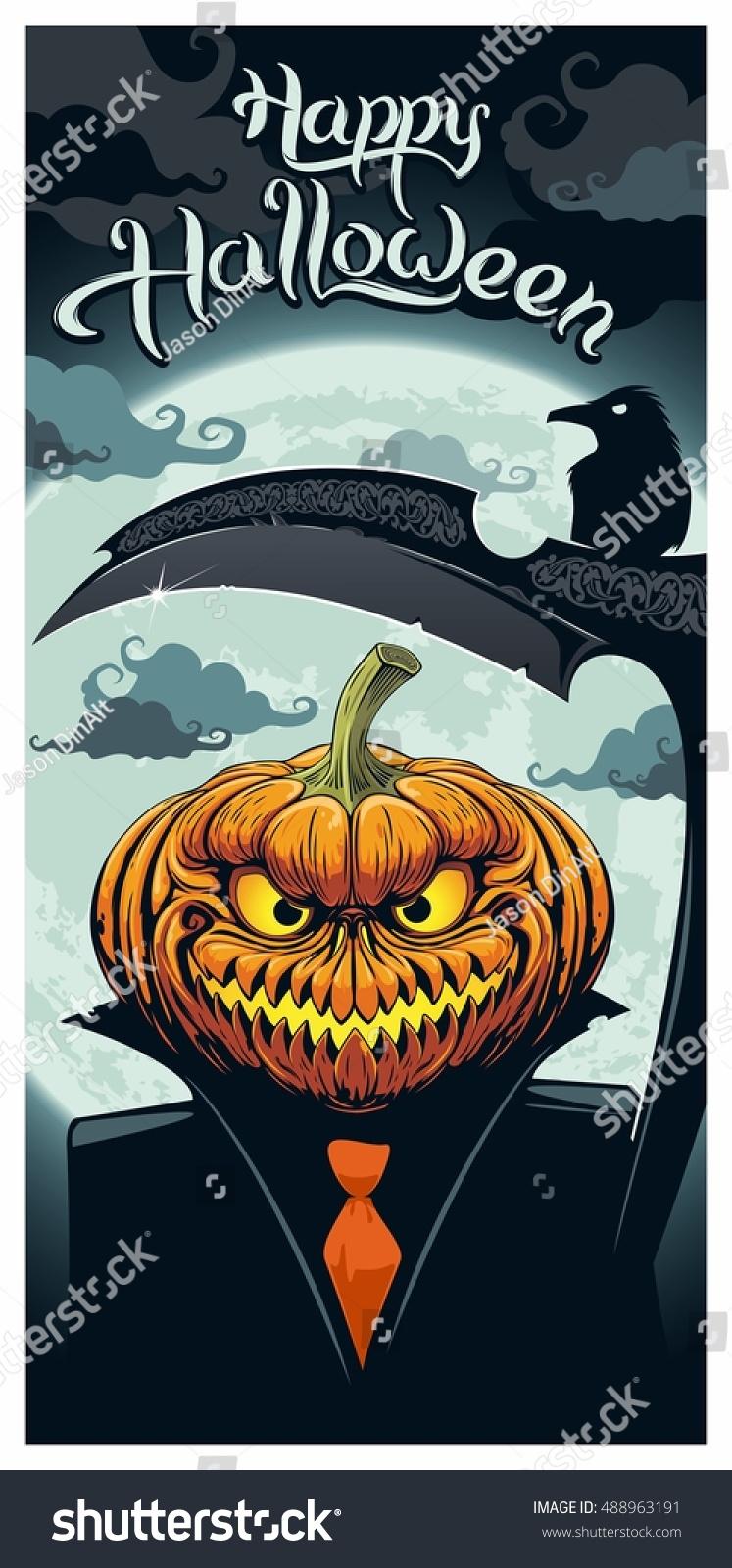 Pumpkin Reaper In Black Suit With Scythe