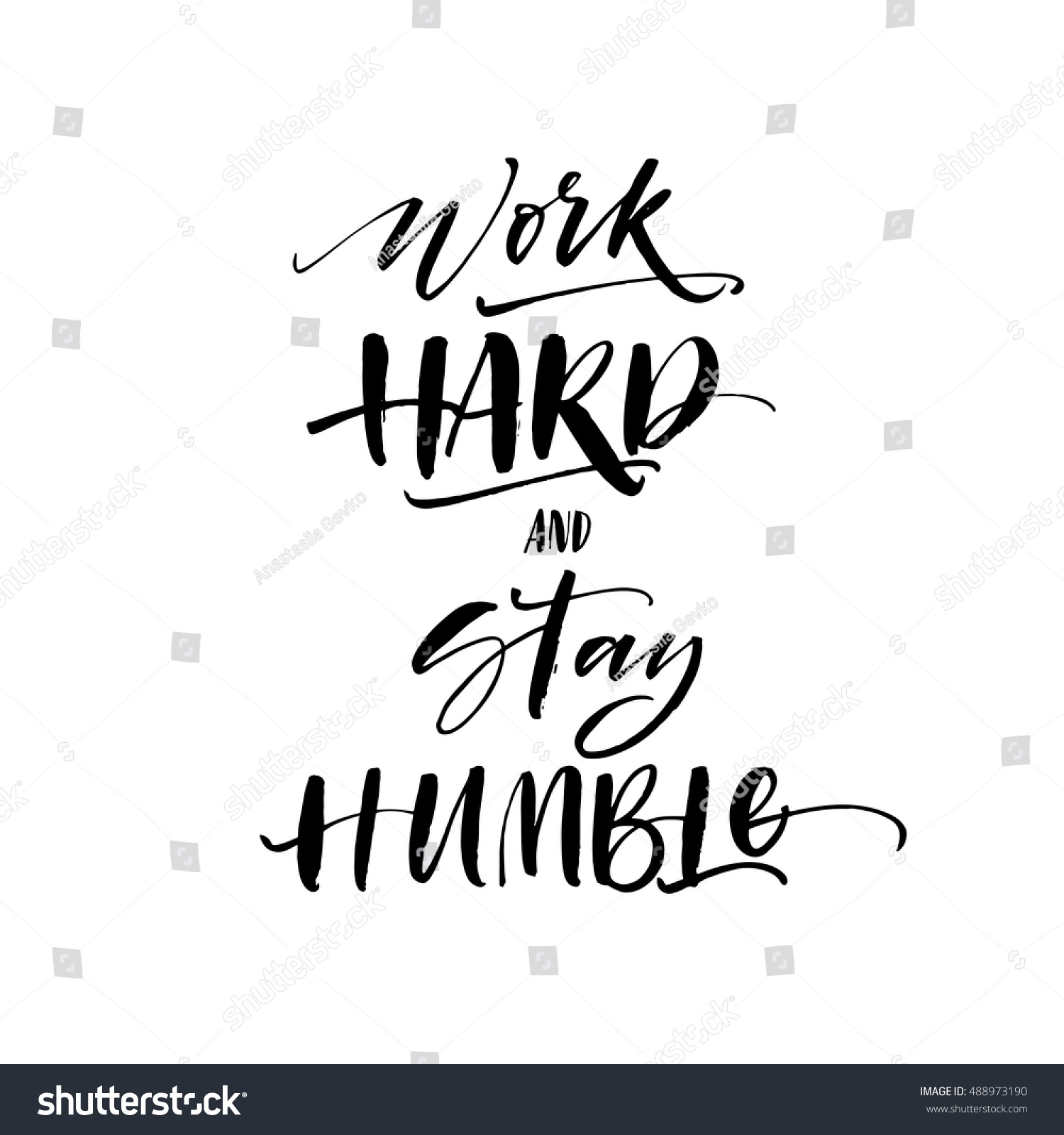 Work hard and stay humble postcard hand drawn lettering