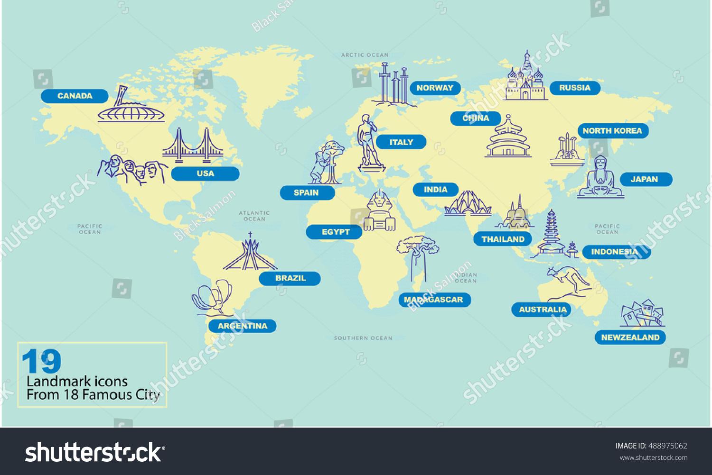 World Map Famous Country Landmark Symbol Stock Vector - Argentina landmarks map