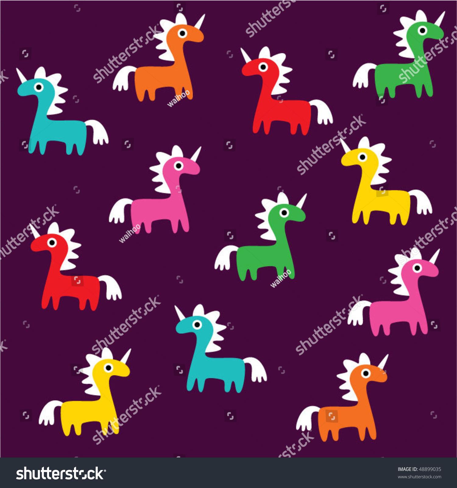 Cute Unicorn Wallpaper Stock Vector Shutterstock