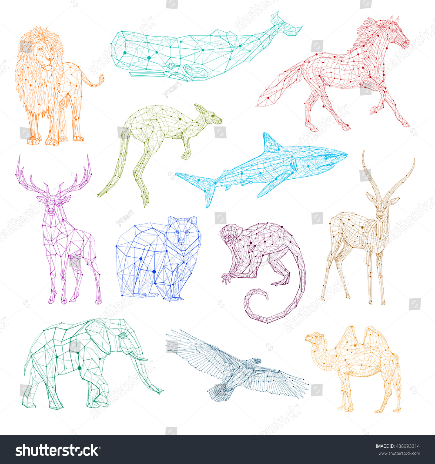 Low Poly Color Vector Animals Set Stylized Linear Wire Construction Concept Polygon Outline Isolated