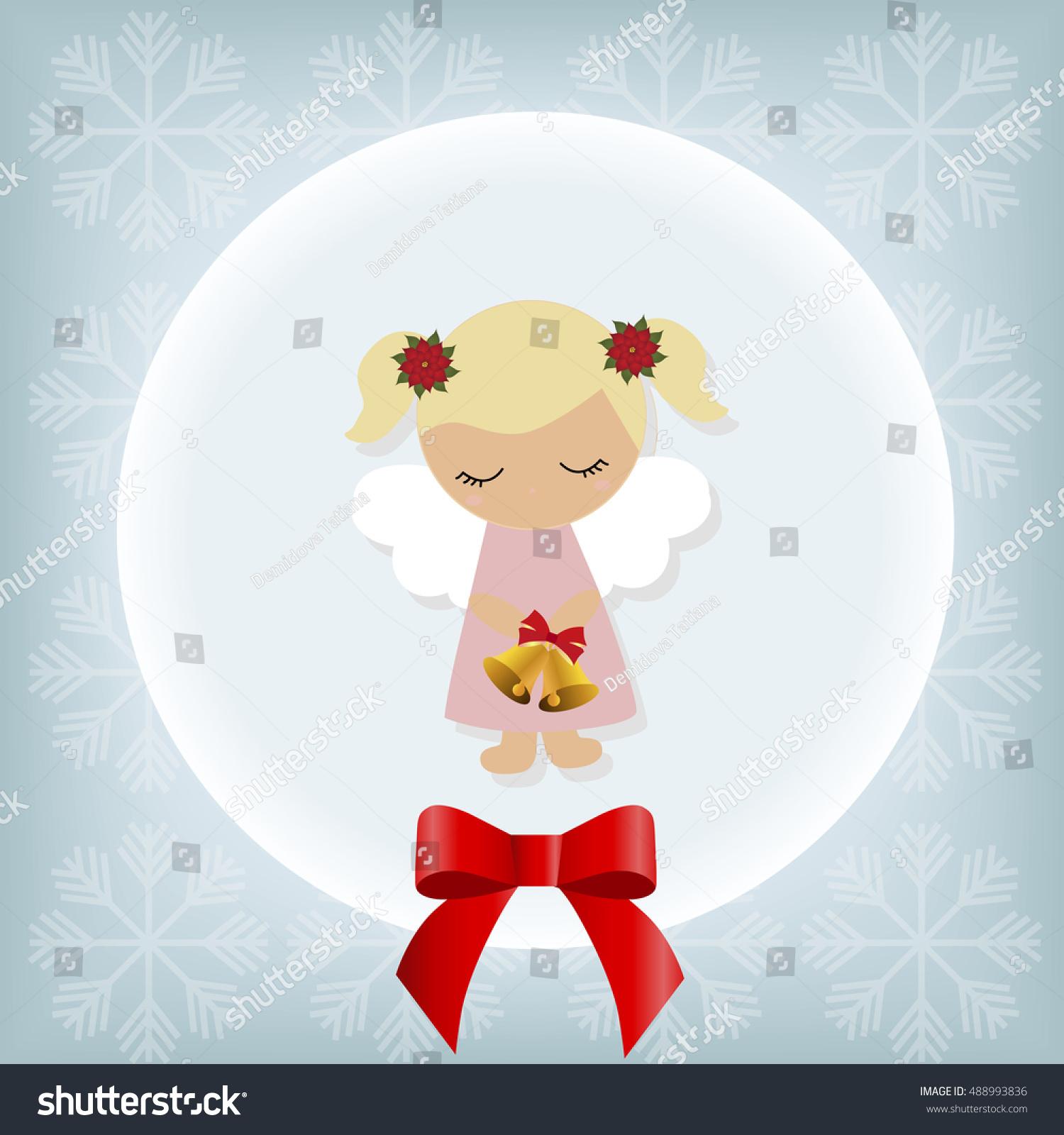 Cute Christmas Card Little Baby Girl Stock Vector 488993836