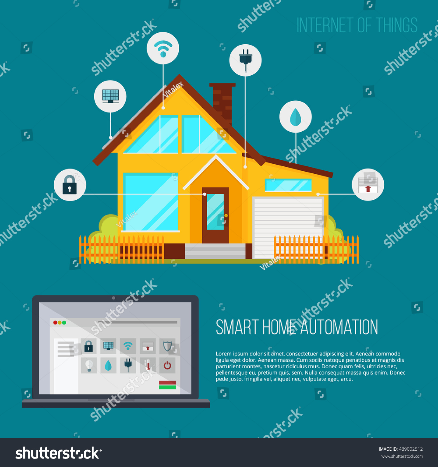 Smart Home Automation System. Smart House Technology System With  Centralized Control From Your Tablet.