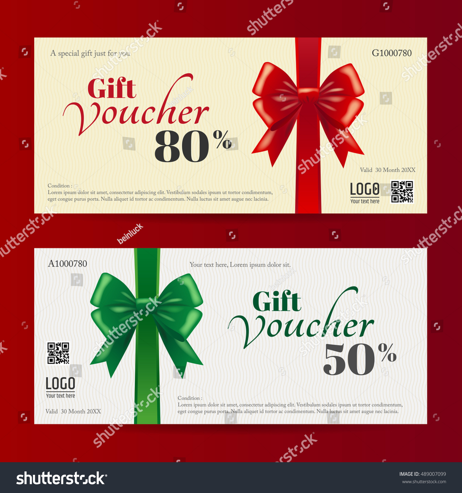 Elegant Christmas Gift Card Gift Voucher Stock Vector Royalty Free