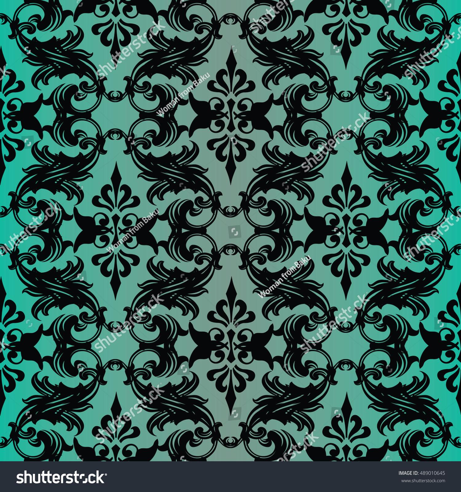 elegant baroque damask floral green turquoise stock vector