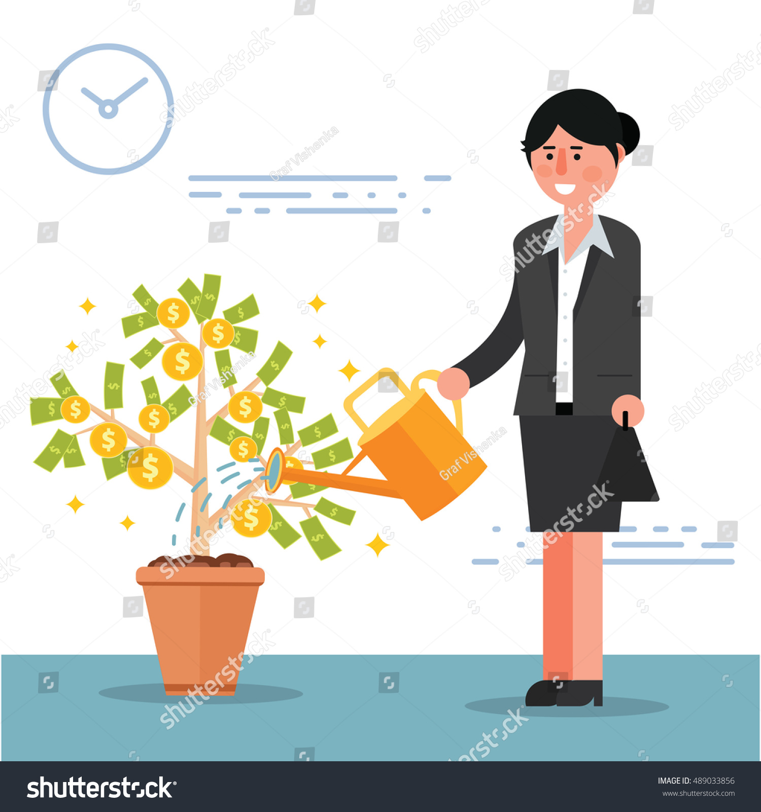 Successful Young Businesswoman Broker Watering Money Stock Vector Royalty Free 489033856