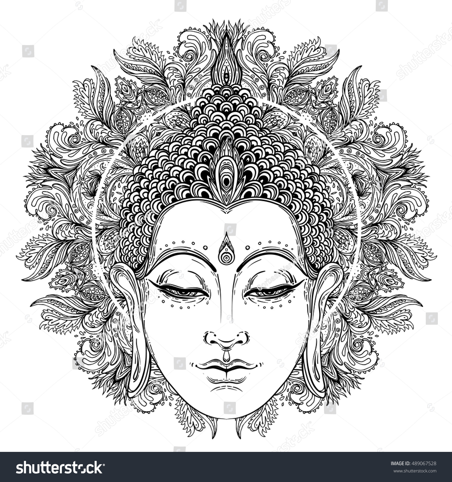buddha face over ornate mandala round stock vector 489067528