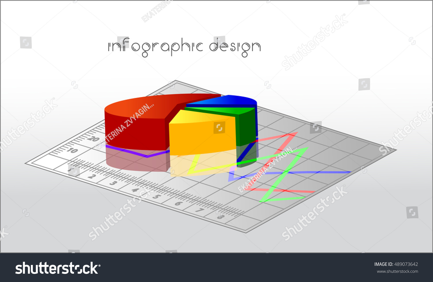 Colorful 3 D Pie Chart Info Graphic Stock Vector 489073642