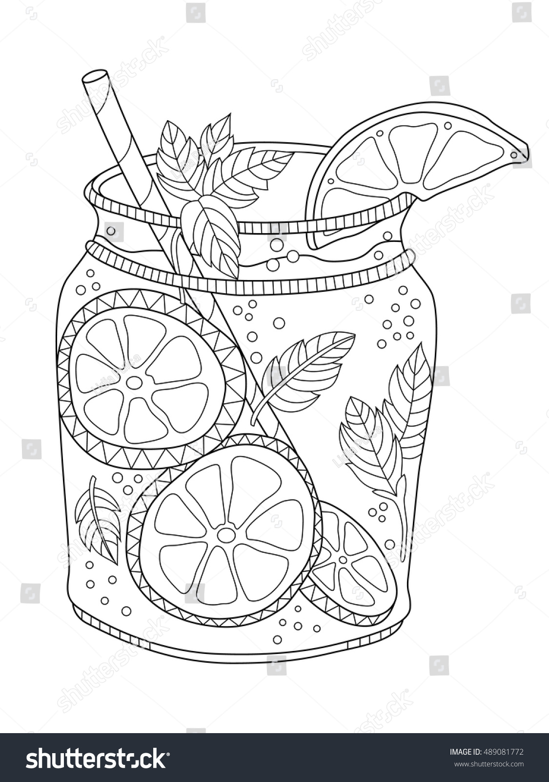 Lemonade Jar Coloring Page Adults Zentangle Stock Vector 489081772 ...