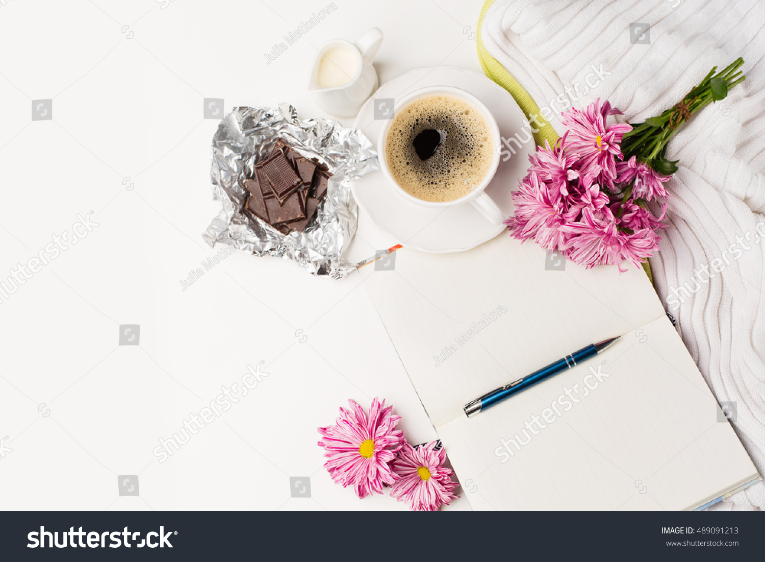 Cup Black Coffee Bouquet Pink Flowers Stock Photo Edit Now
