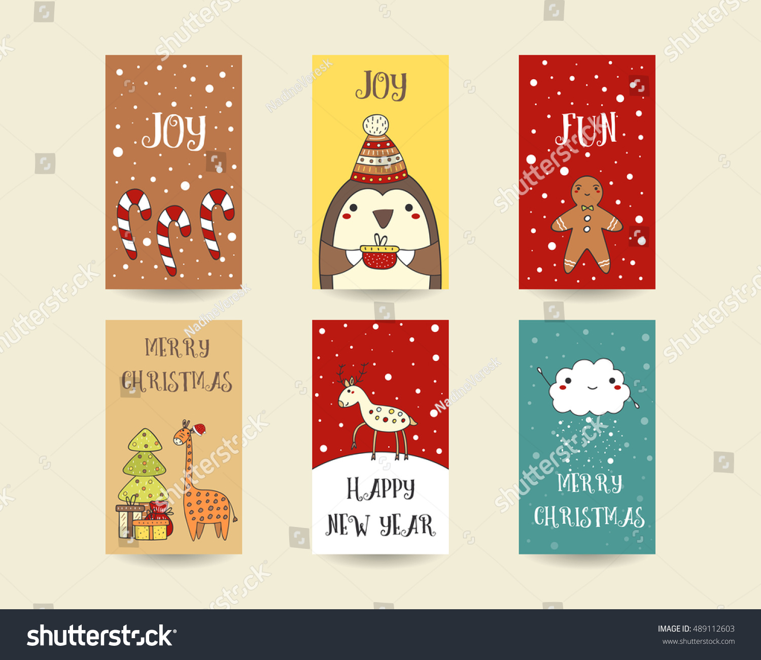 Cute Hand Drawn Christmas Cards Postcards Stock Vector Royalty Free